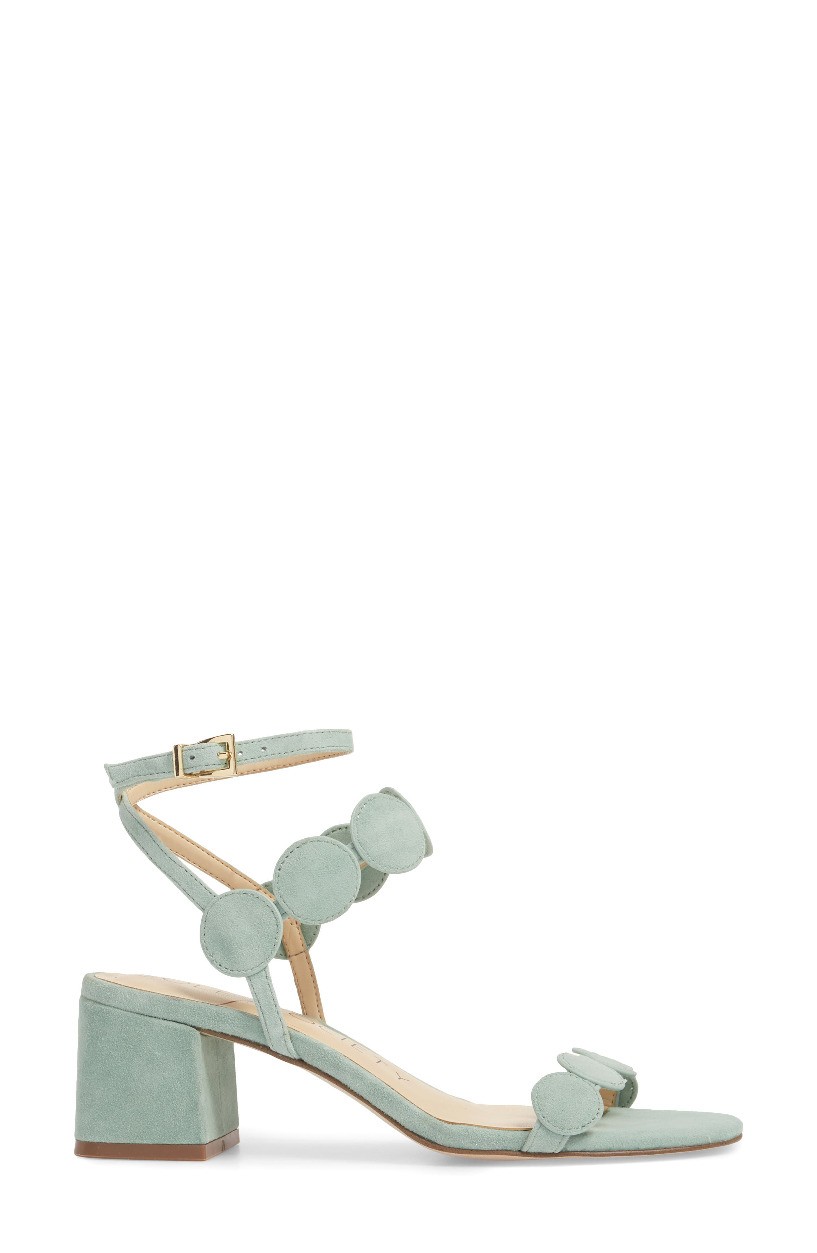 Shea Block Heel Sandal,                             Alternate thumbnail 3, color,                             Sage Green Suede