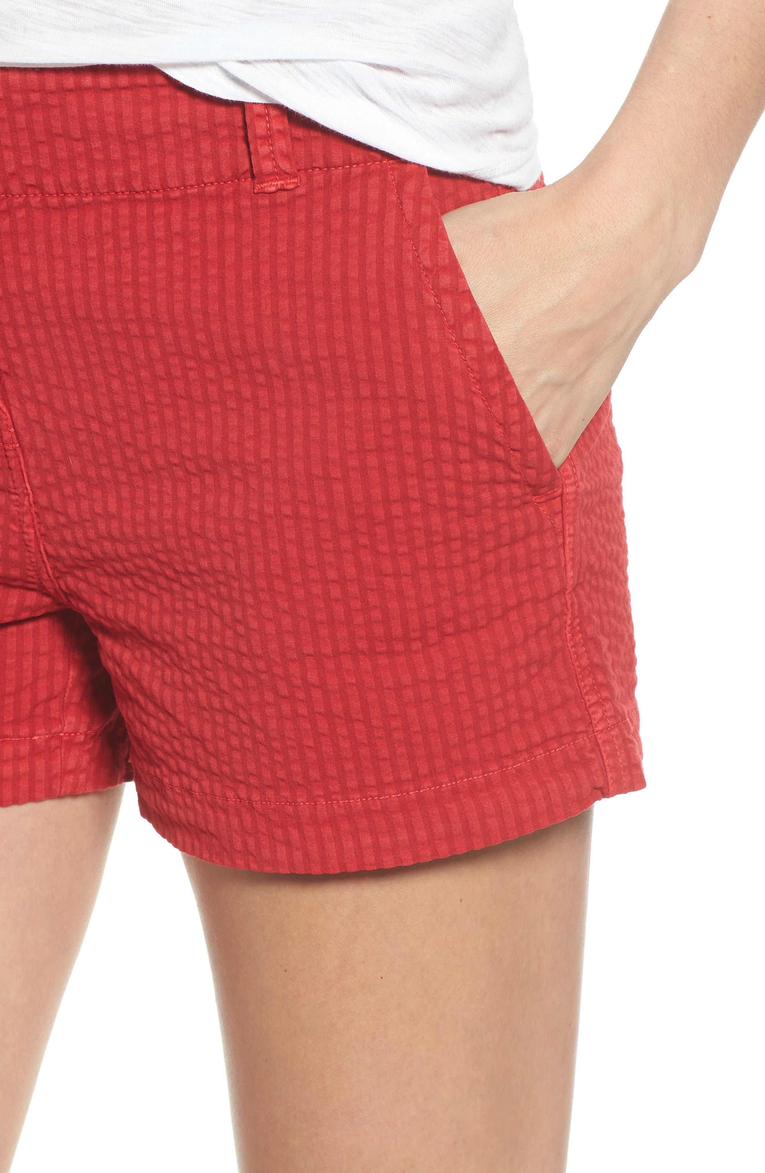 Everyday Seersucker Shorts,                             Alternate thumbnail 4, color,                             Red Velvet