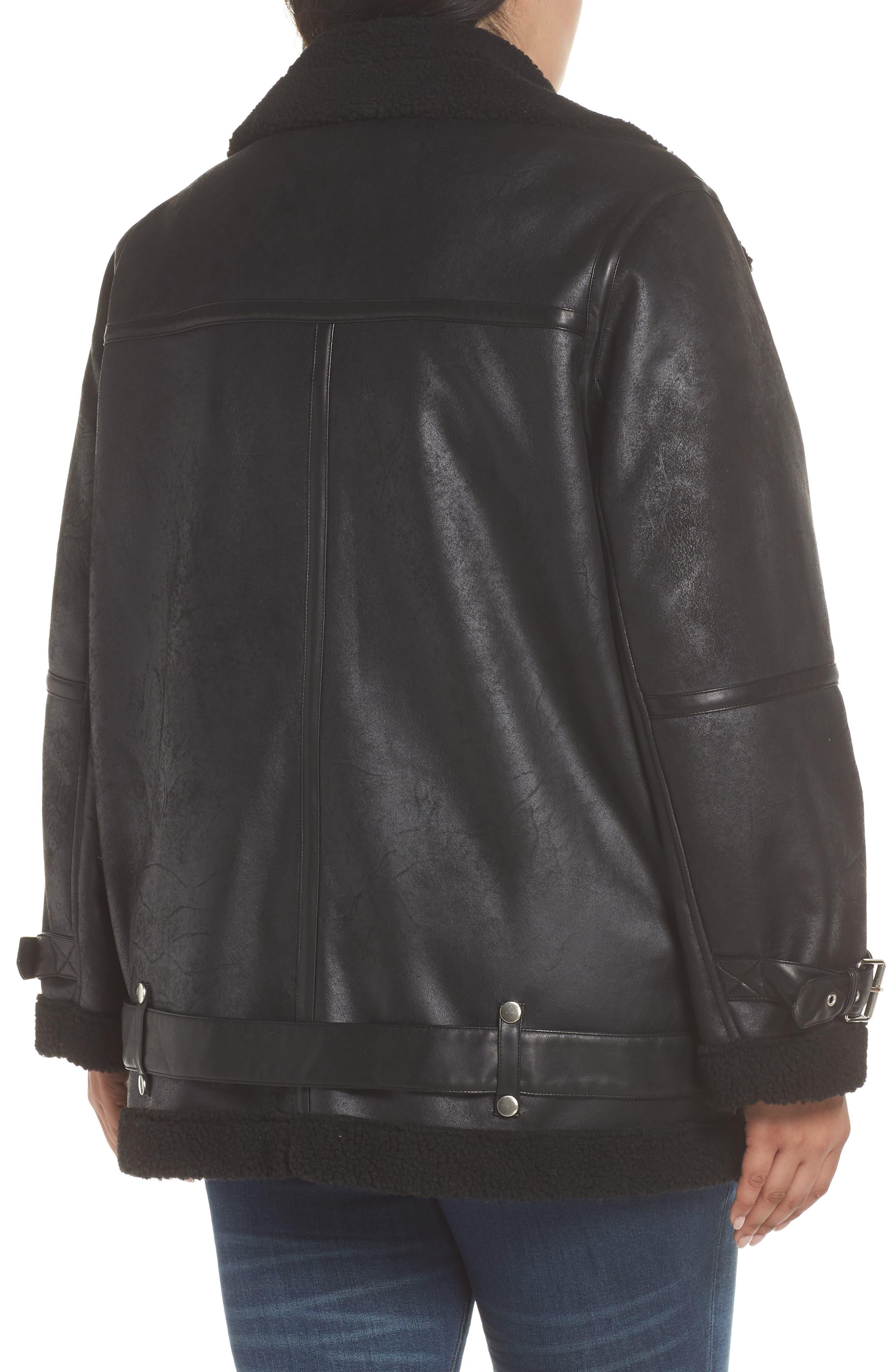 Faux Shearling Biker Jacket,                             Alternate thumbnail 3, color,                             Black