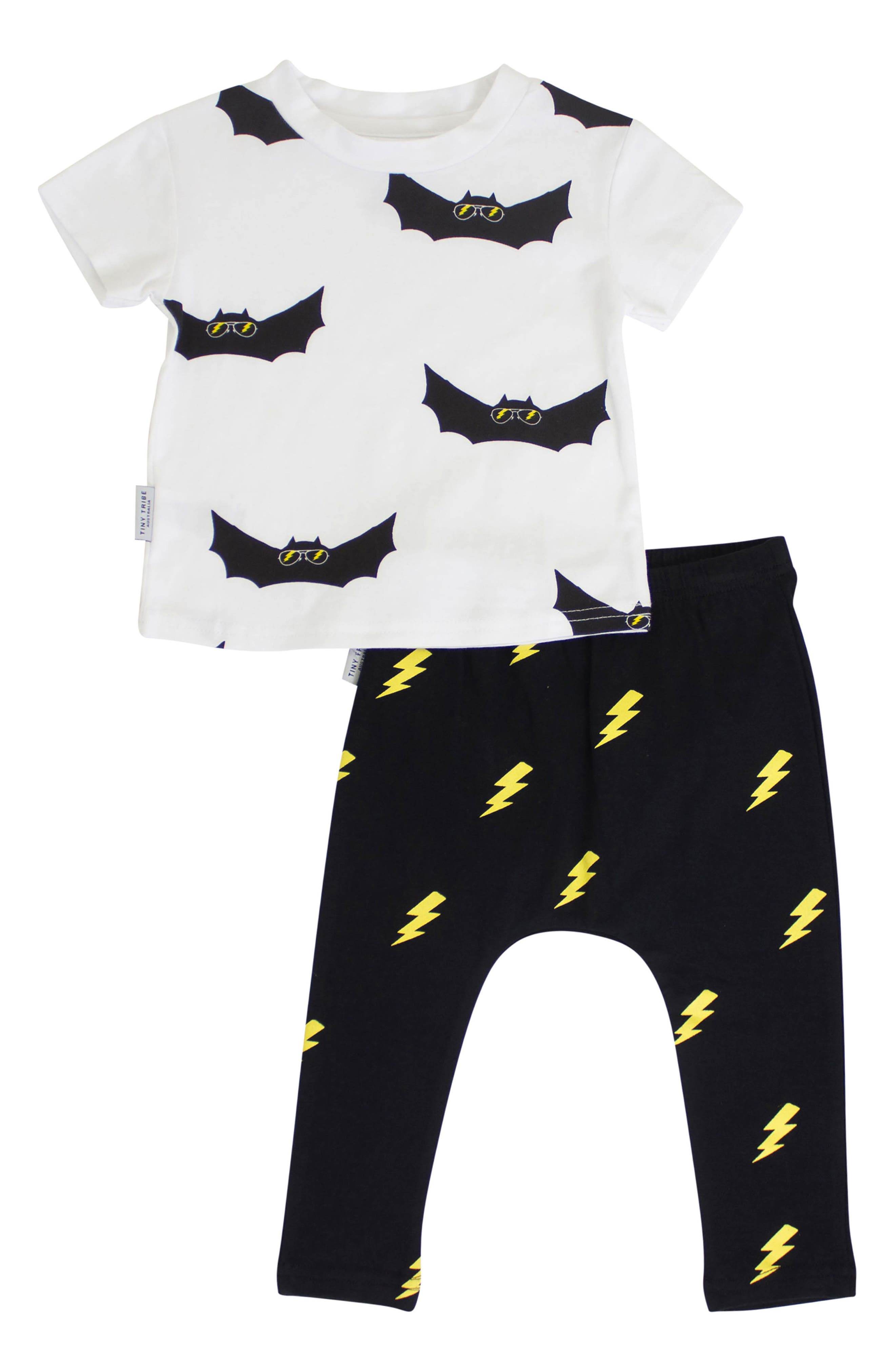 Bat Shirt & Leggings Set,                         Main,                         color, White/ Black
