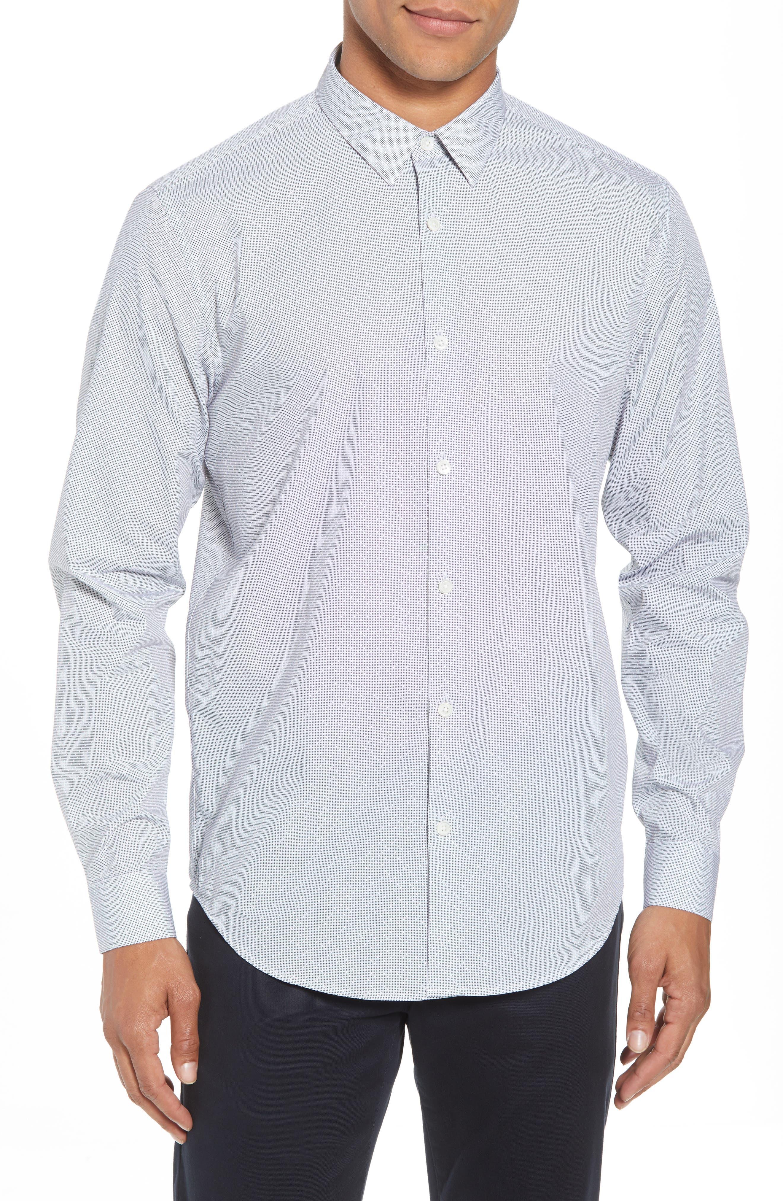 Murray Trim Fit Pixel Print Sport Shirt,                         Main,                         color, Eclipse Multi