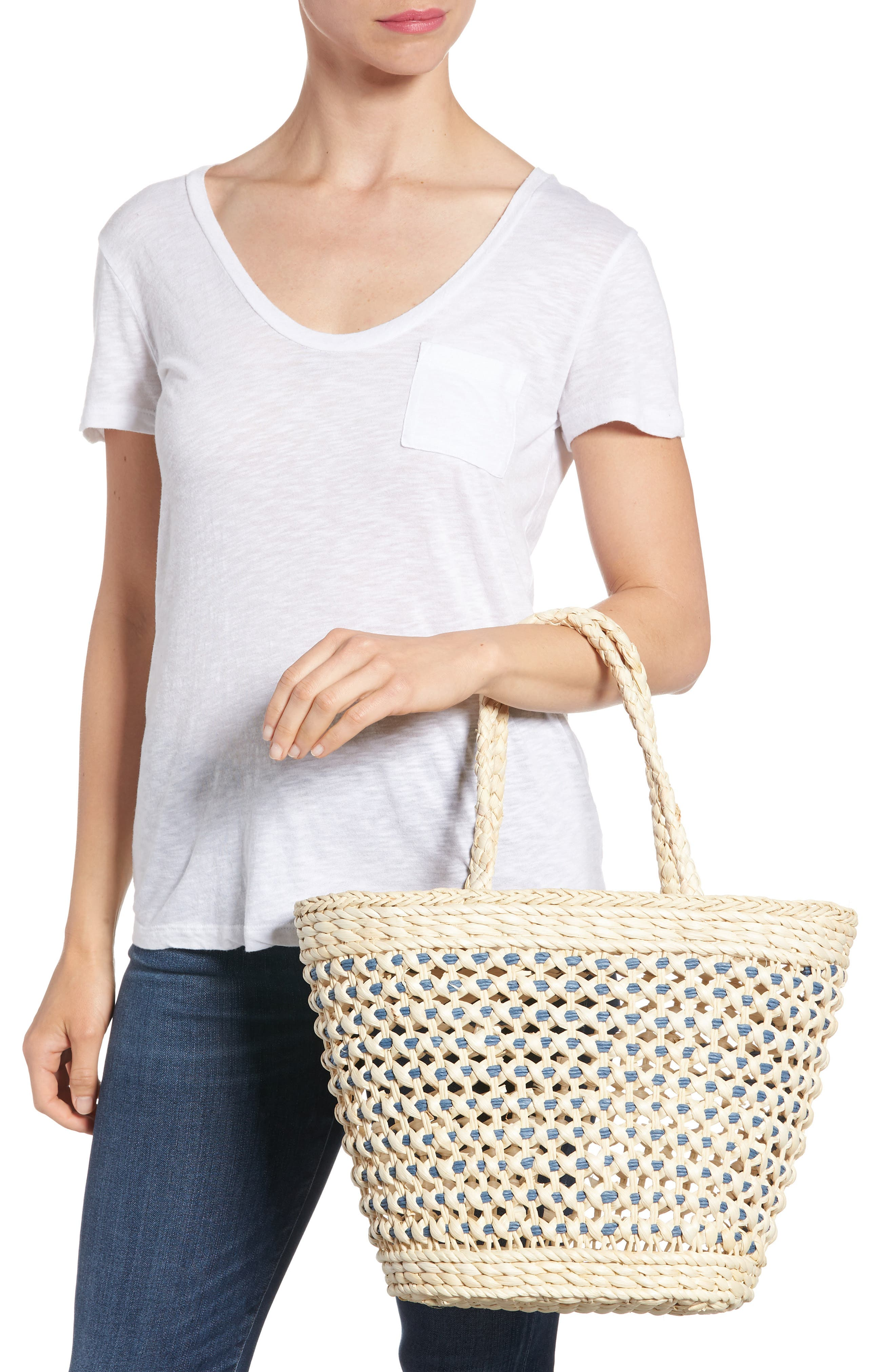 Woven Straw Tote,                             Alternate thumbnail 2, color,                             Nautral/Blue