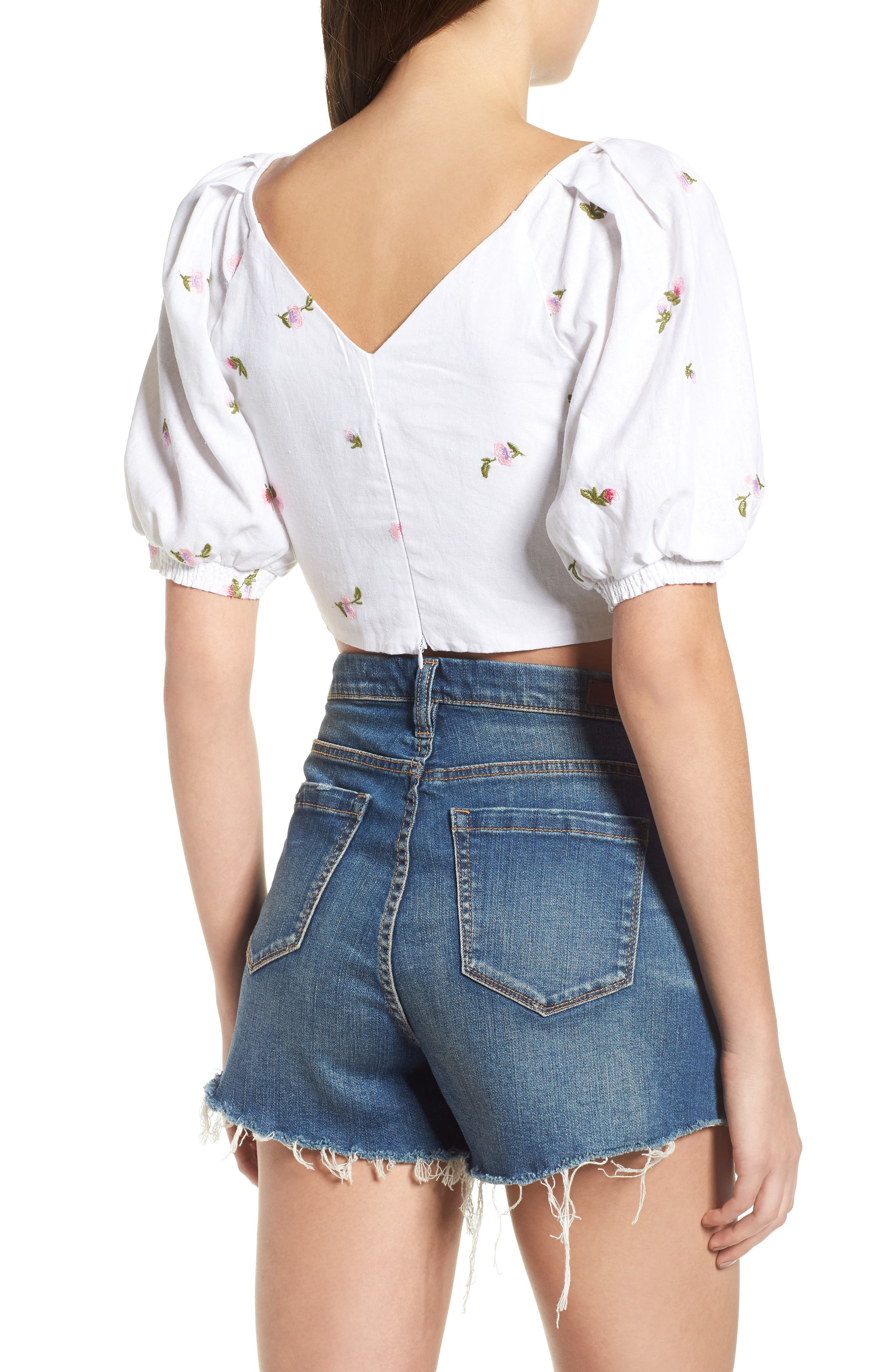Rodeo Crop Top,                             Alternate thumbnail 2, color,                             Ditsy Embroidery
