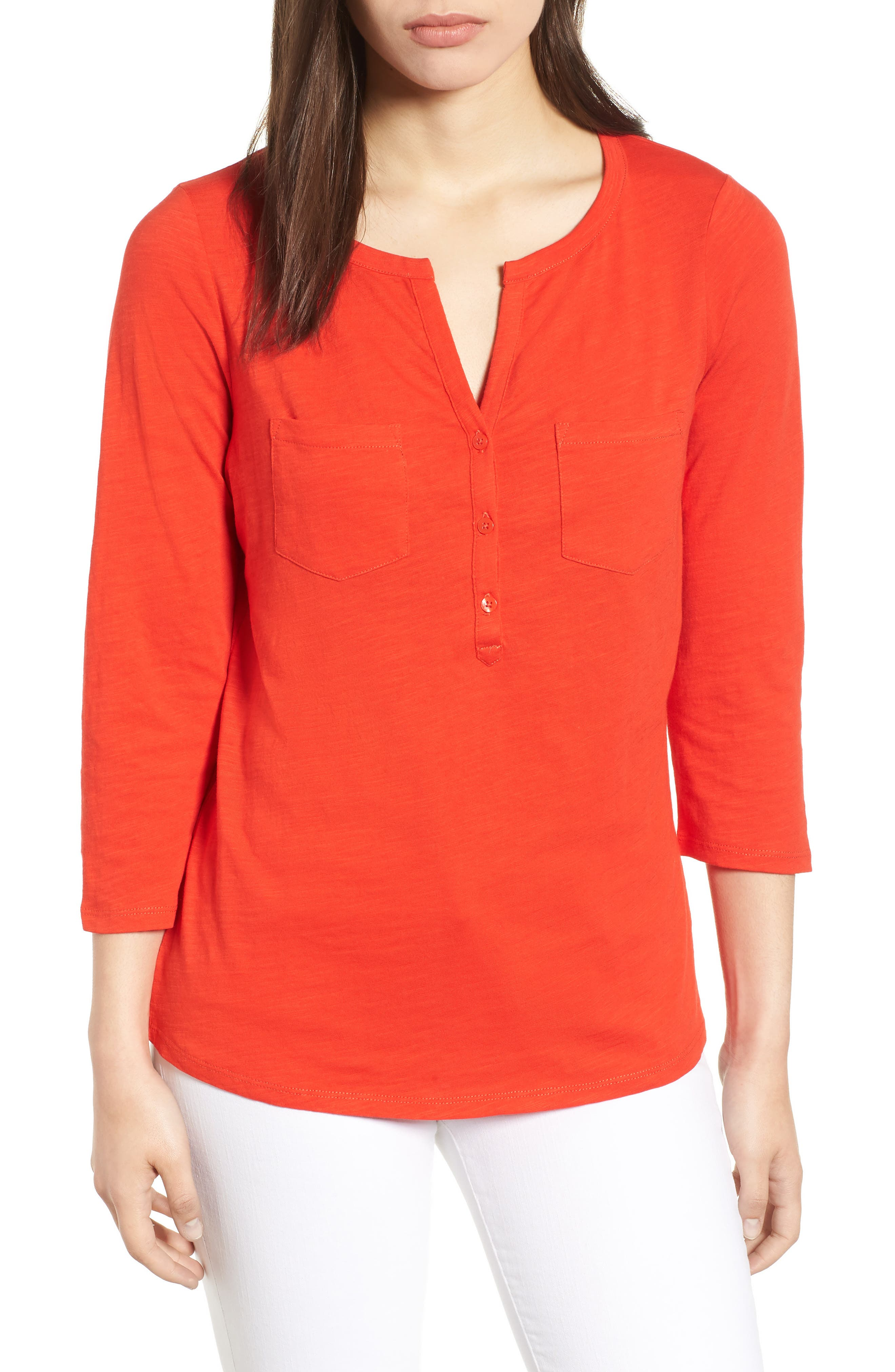 Trusty Henley Tee,                             Main thumbnail 1, color,                             Red Pop