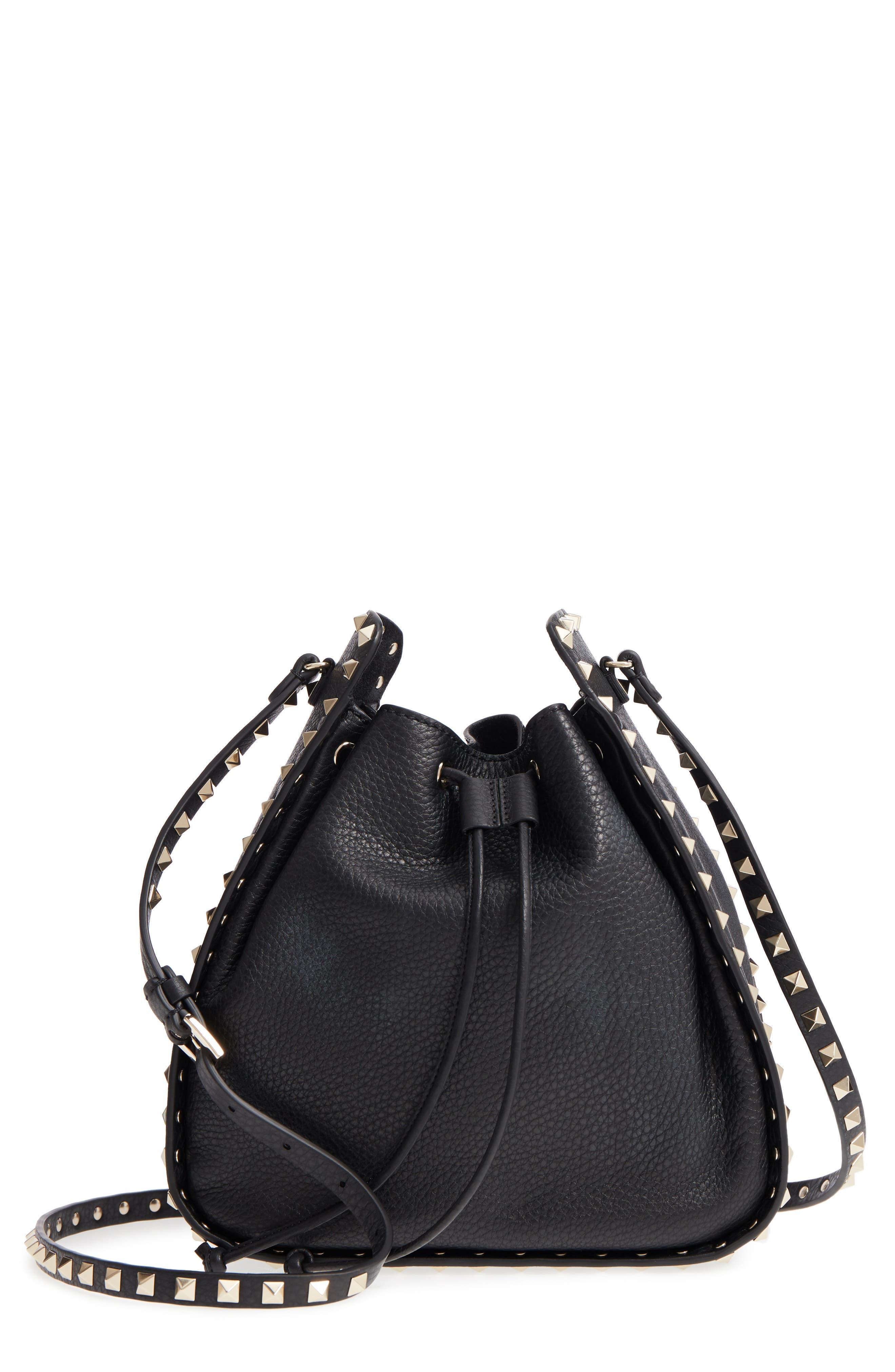 Large Rockstud Leather Bucket Bag,                         Main,                         color, Black/ Gold