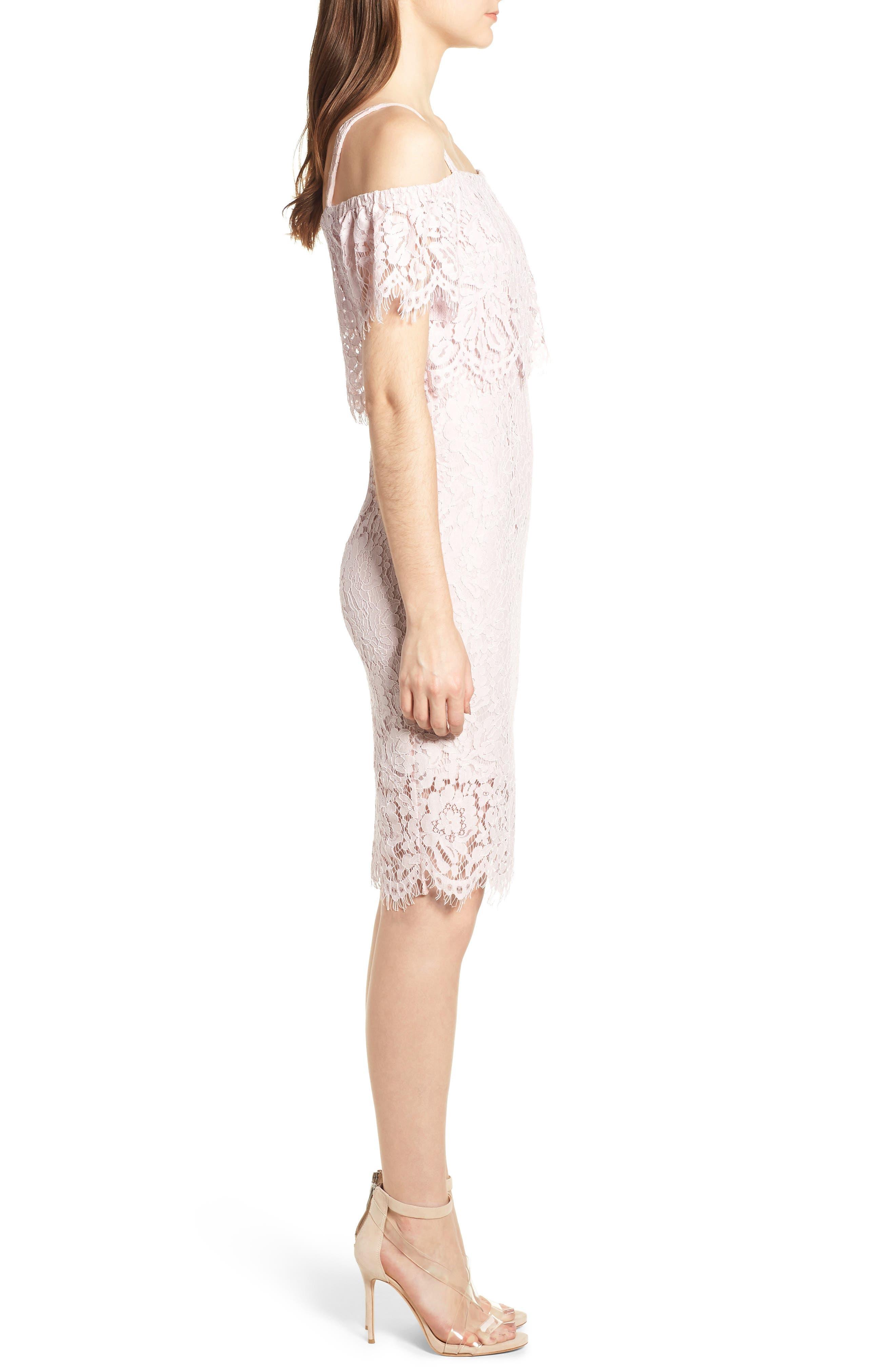Popover Lace Dress,                             Alternate thumbnail 3, color,                             Pale Pink