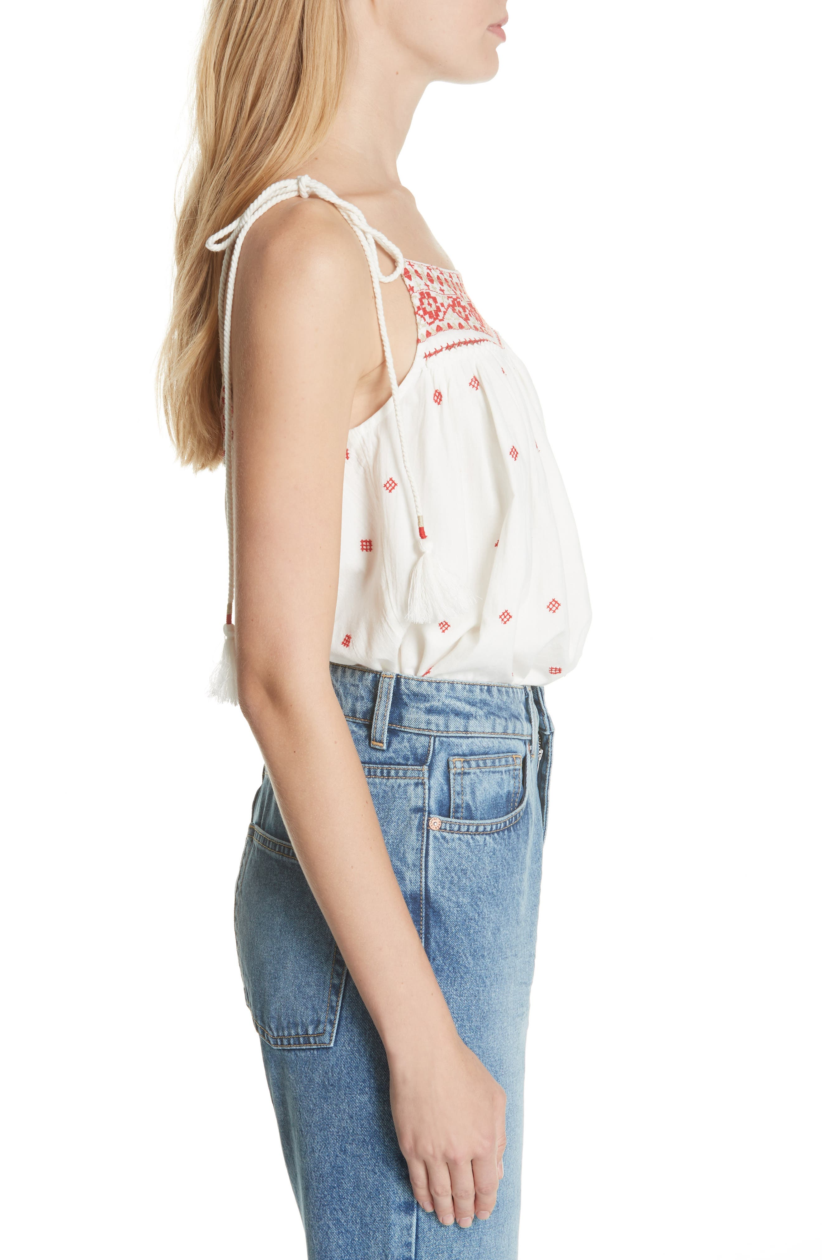 Eternal Love Embroidered Top,                             Alternate thumbnail 3, color,                             Ivory