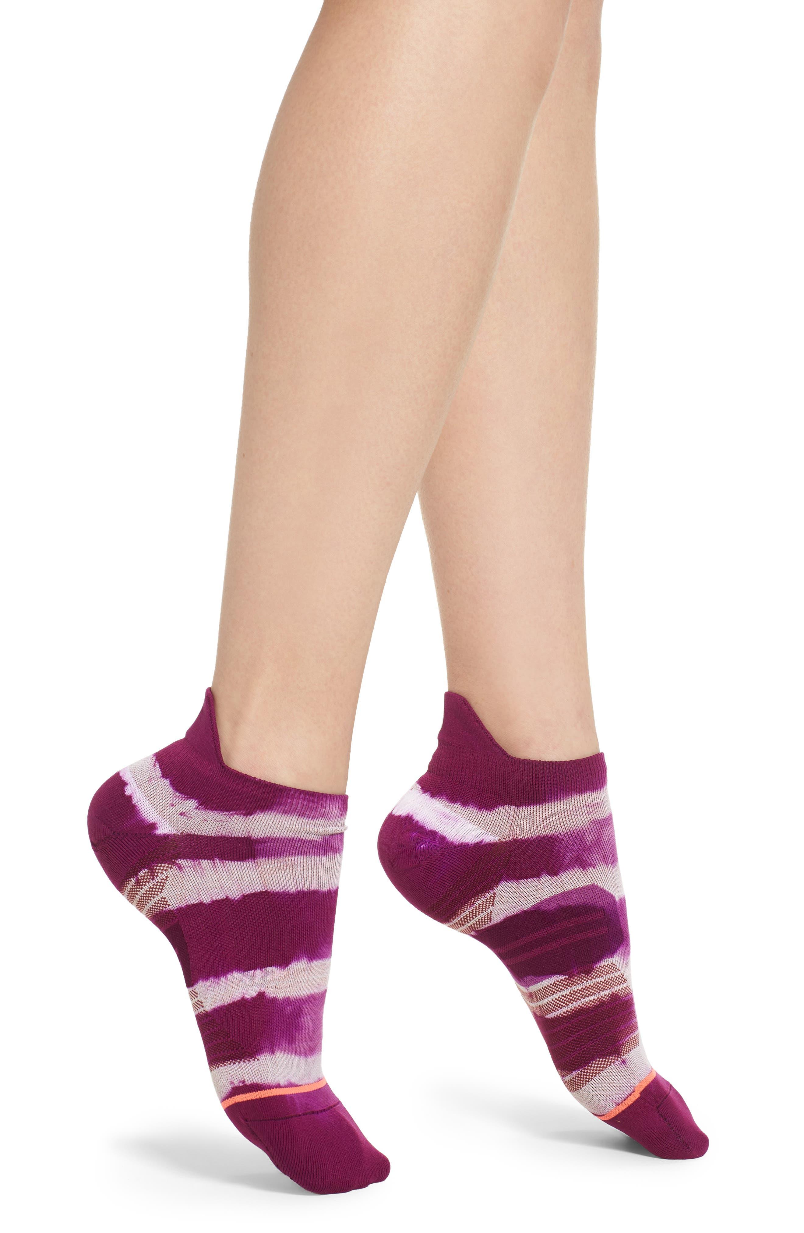 Downhill Tab Running Socks,                             Main thumbnail 1, color,                             Purple
