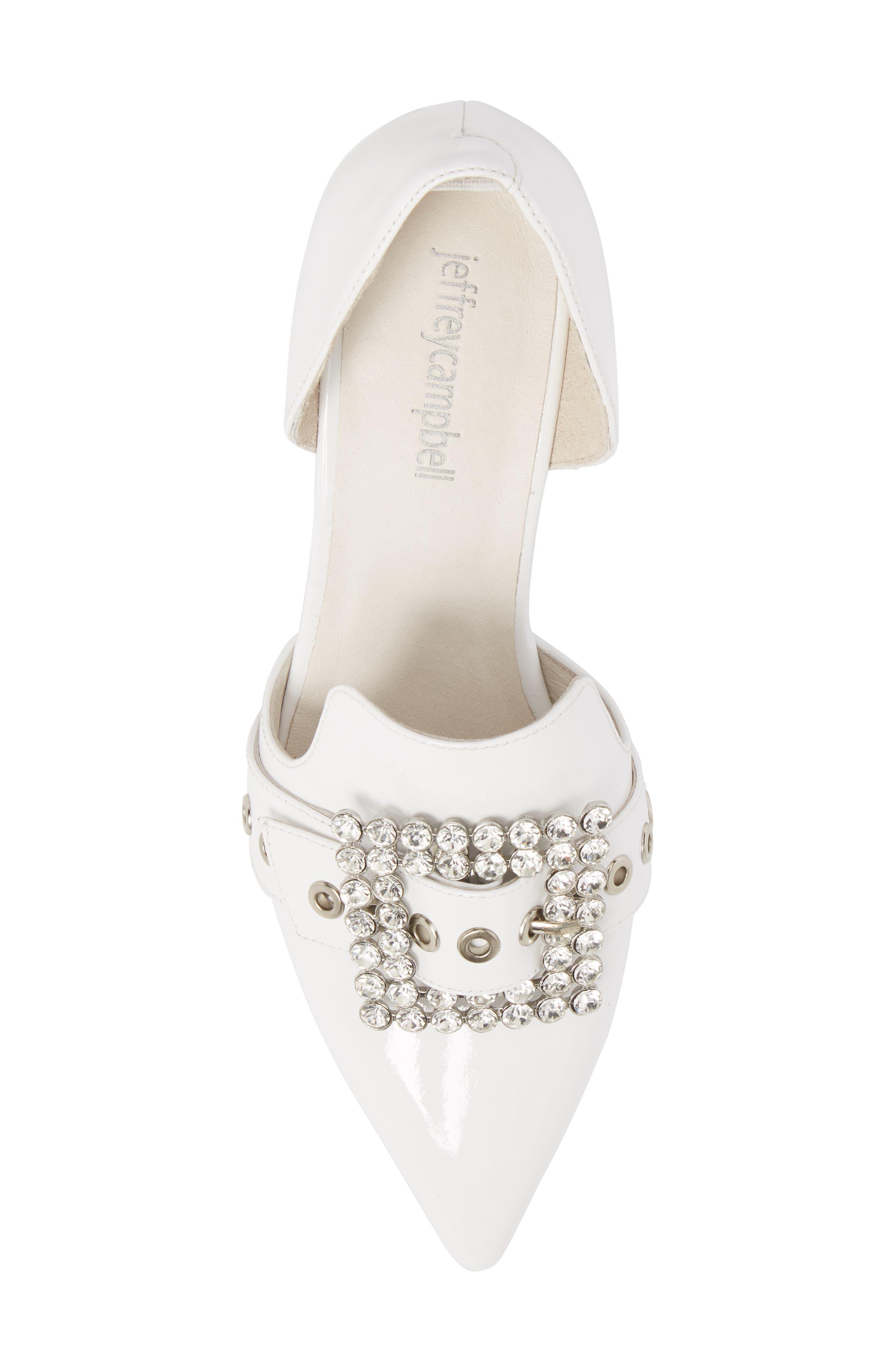 Zofia Jeweled Heel Pump,                             Alternate thumbnail 5, color,                             White Patent Silver