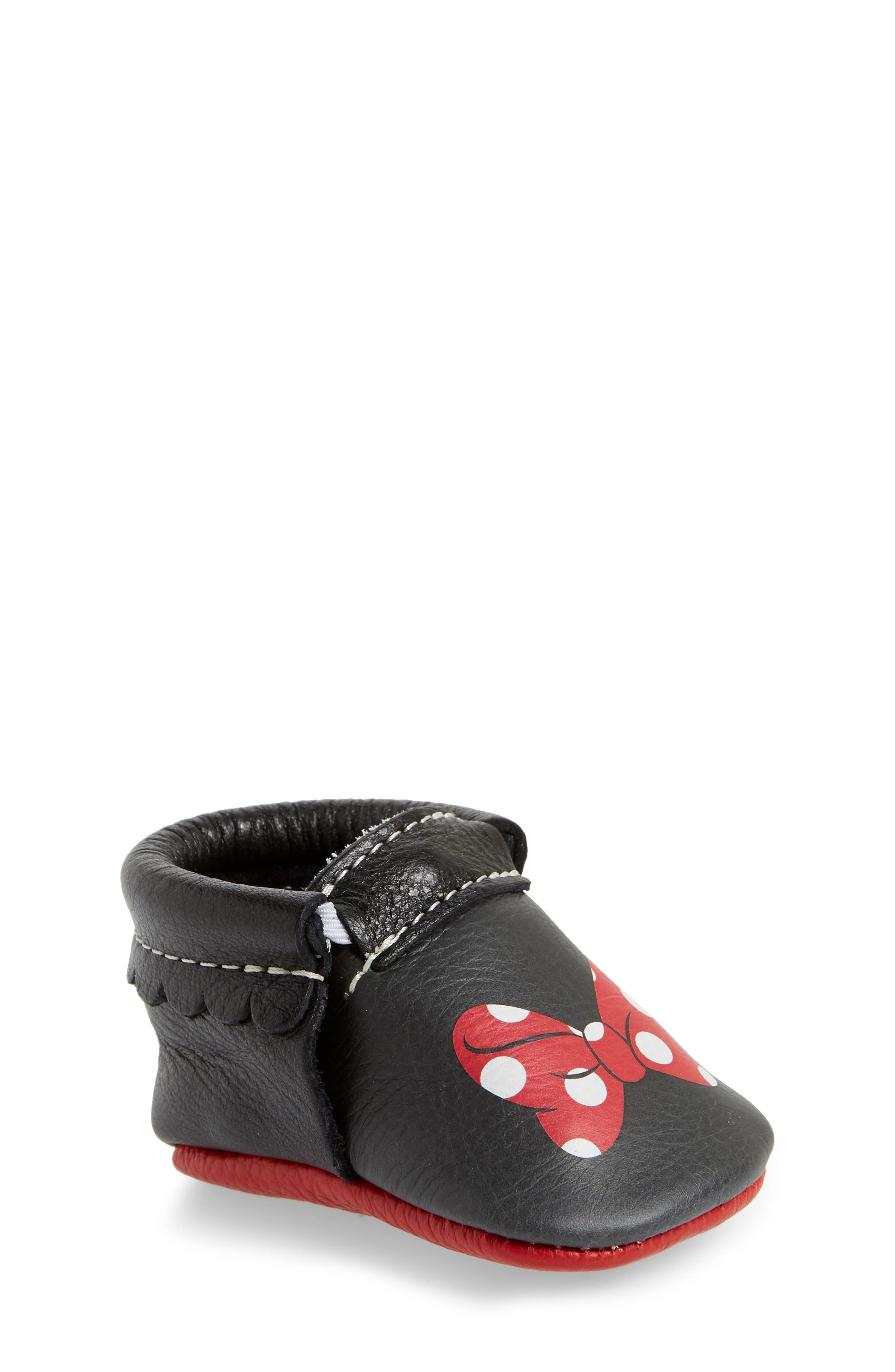 x Disney<sup>®</sup> Baby Minnie Mouse Crib Moccasin,                             Main thumbnail 1, color,                             Black Leather