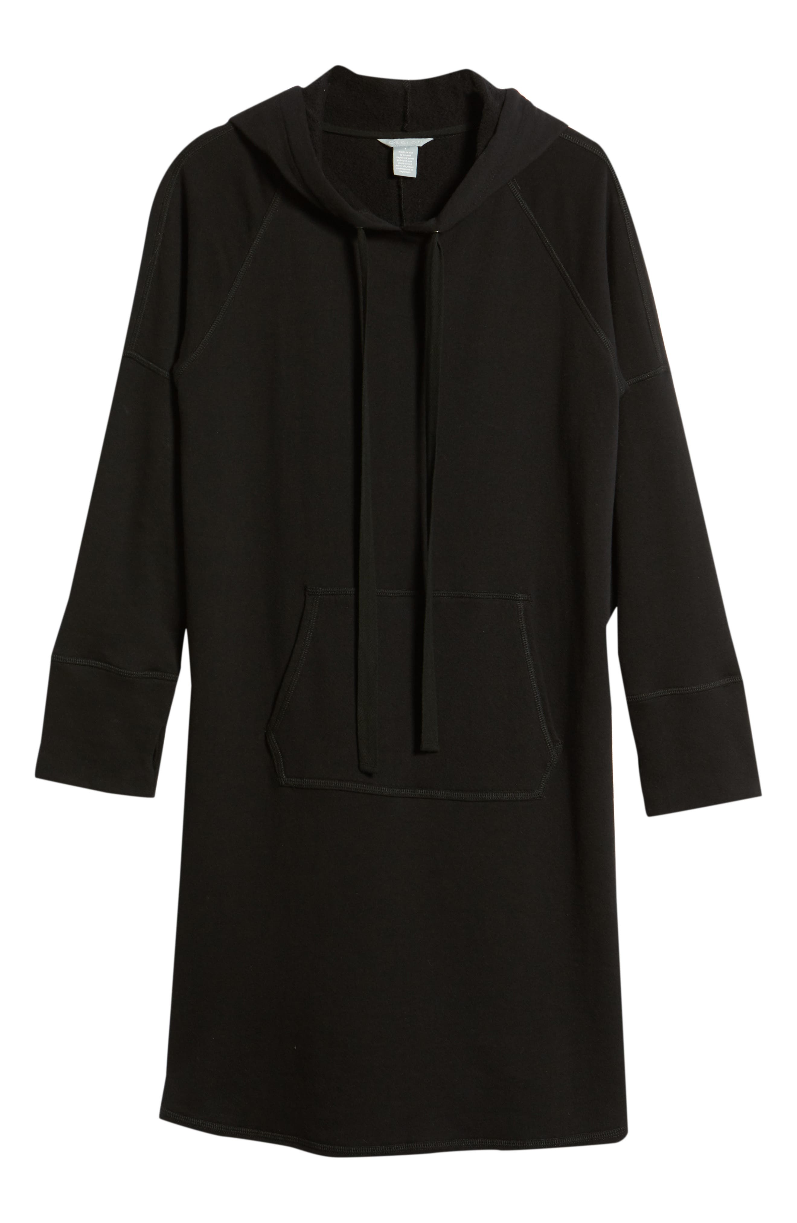 Hooded French Terry Dress,                             Alternate thumbnail 6, color,                             Black