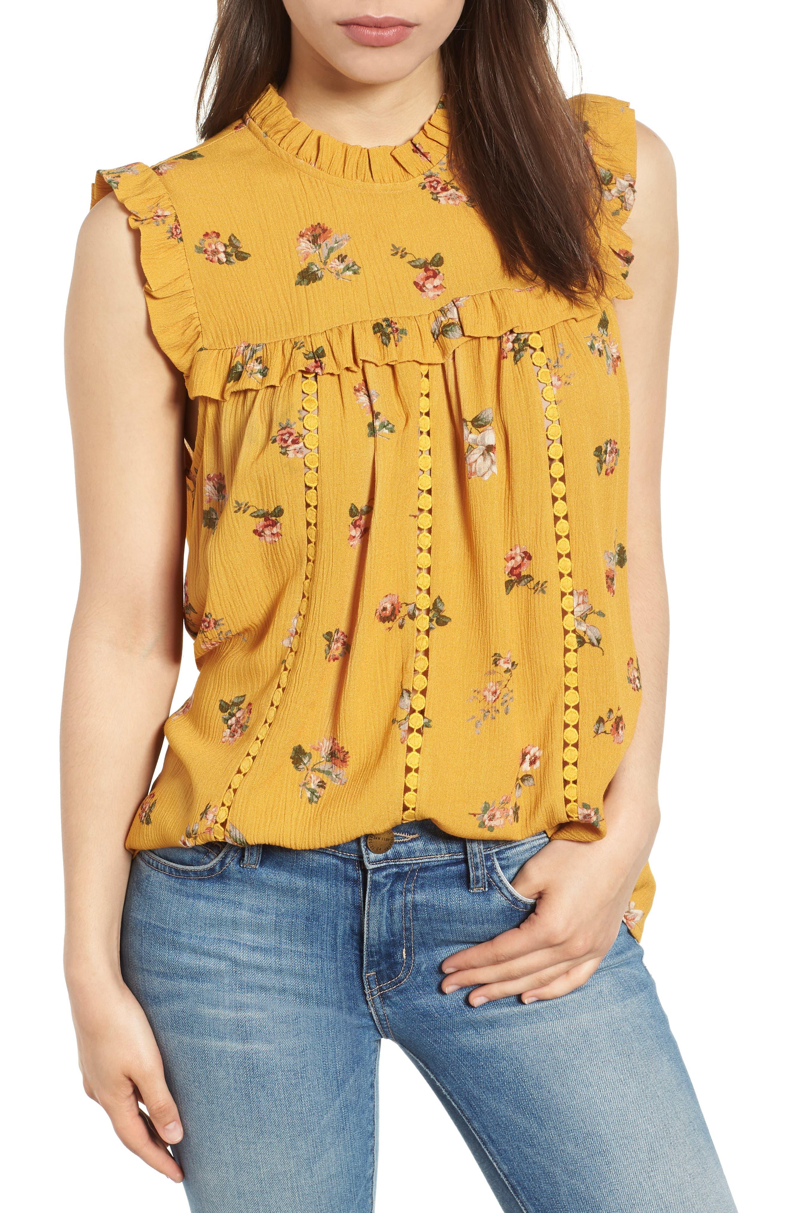 Ruffled Floral Top,                         Main,                         color, Marigold Print