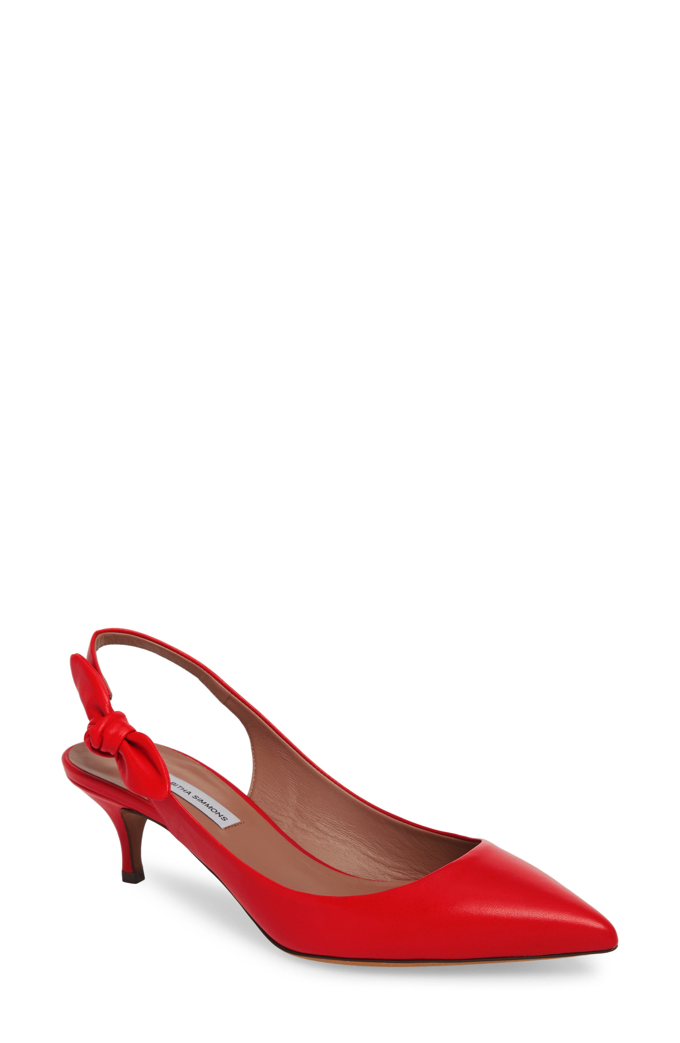 Rise Bow Slingback Pump,                             Main thumbnail 1, color,                             Red Leather
