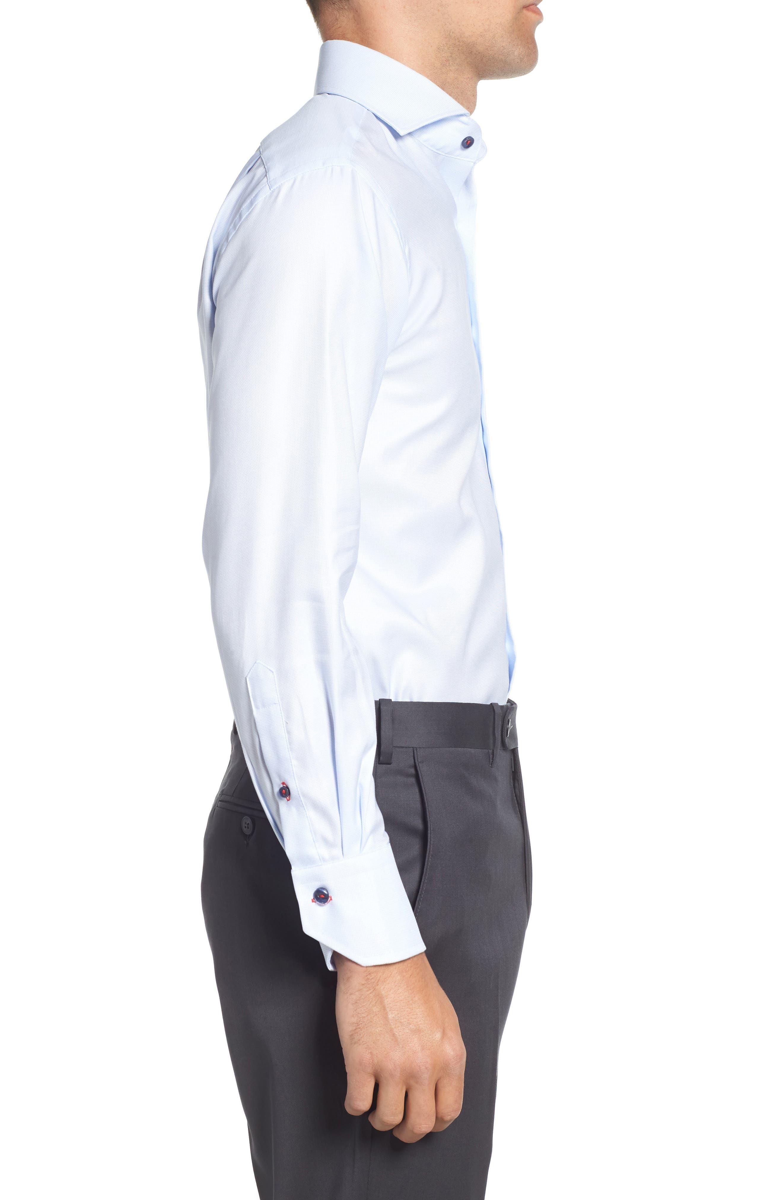 Trim Fit Solid Dress Shirt,                             Alternate thumbnail 4, color,                             Light Blue