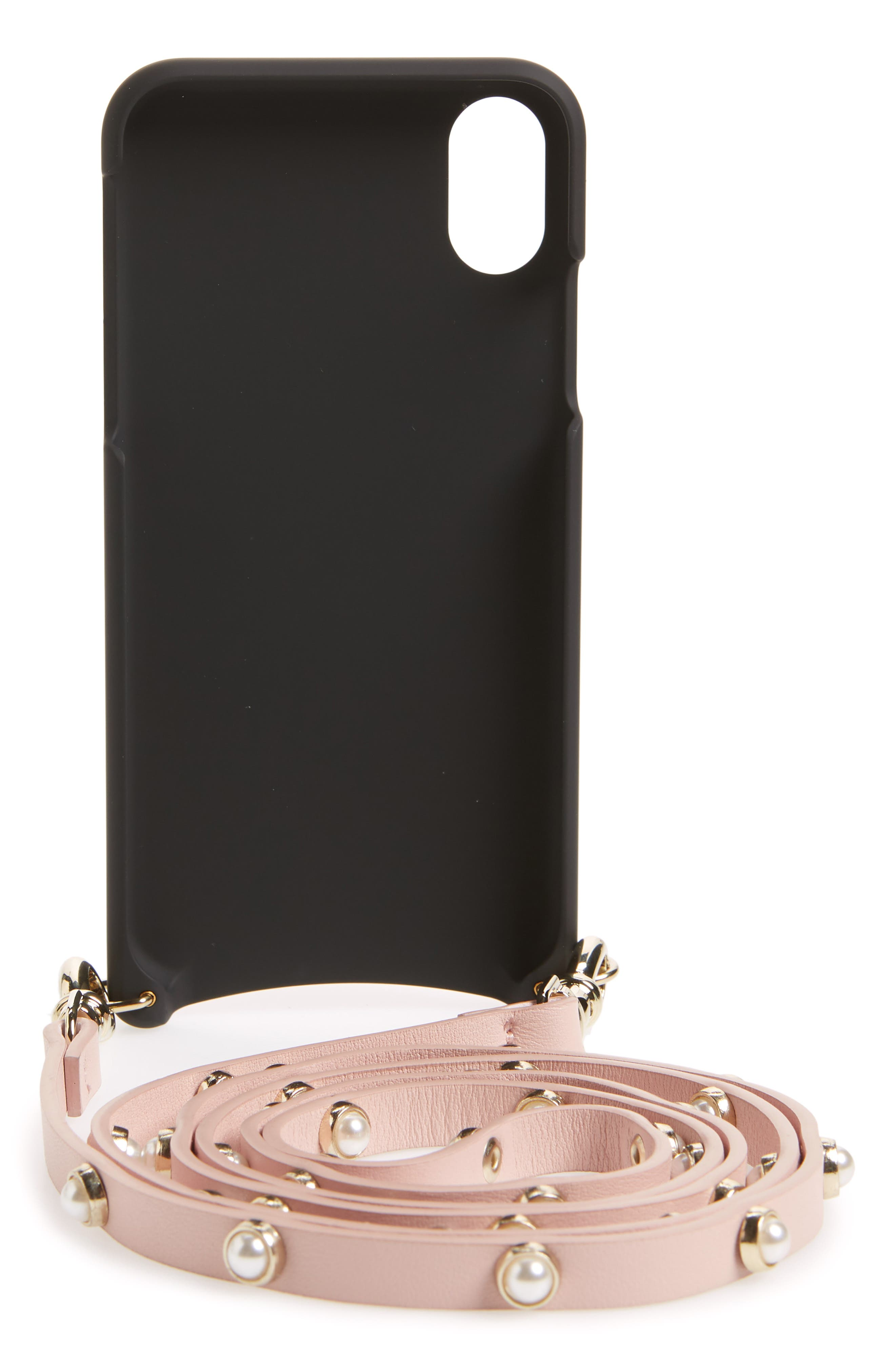 Claire Leather iPhone X Crossbody Case,                             Alternate thumbnail 3, color,                             Pink/ Pearl