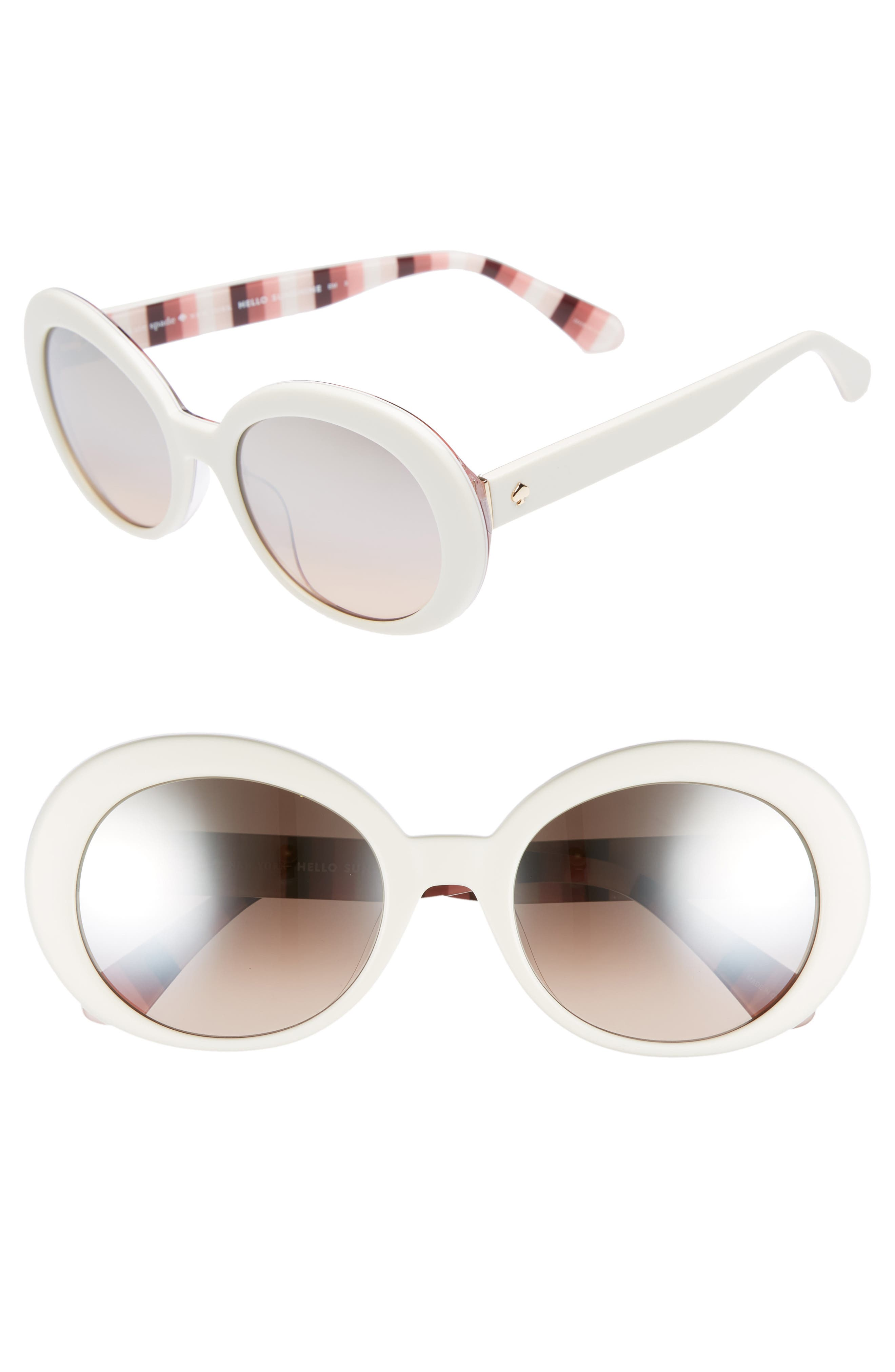 cindra 54mm gradient round sunglasses,                         Main,                         color, Ivory