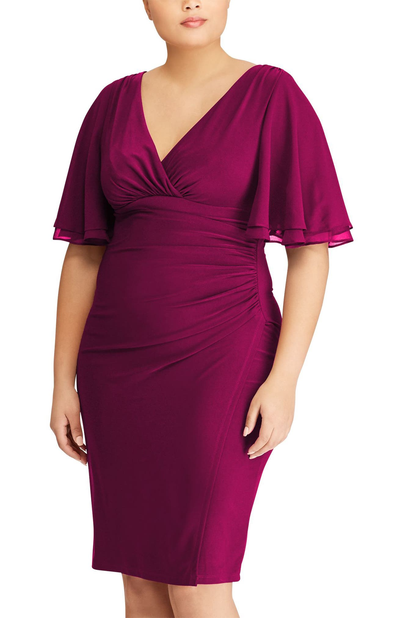 Mildia Ruched Flutter Sleeve Dress by Lauren Ralph Lauren