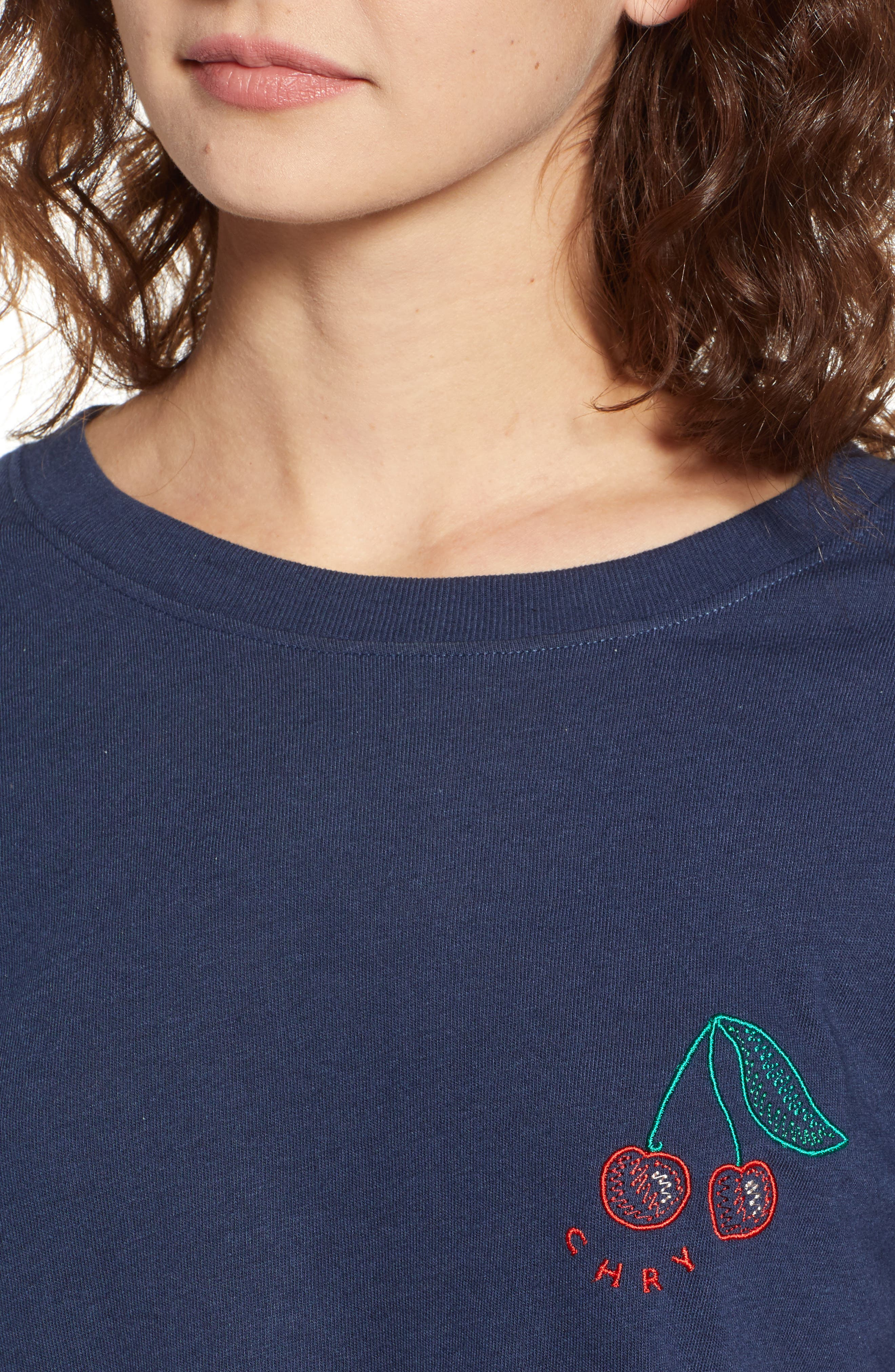 Cherry Slouched Tee,                             Alternate thumbnail 4, color,                             Navy