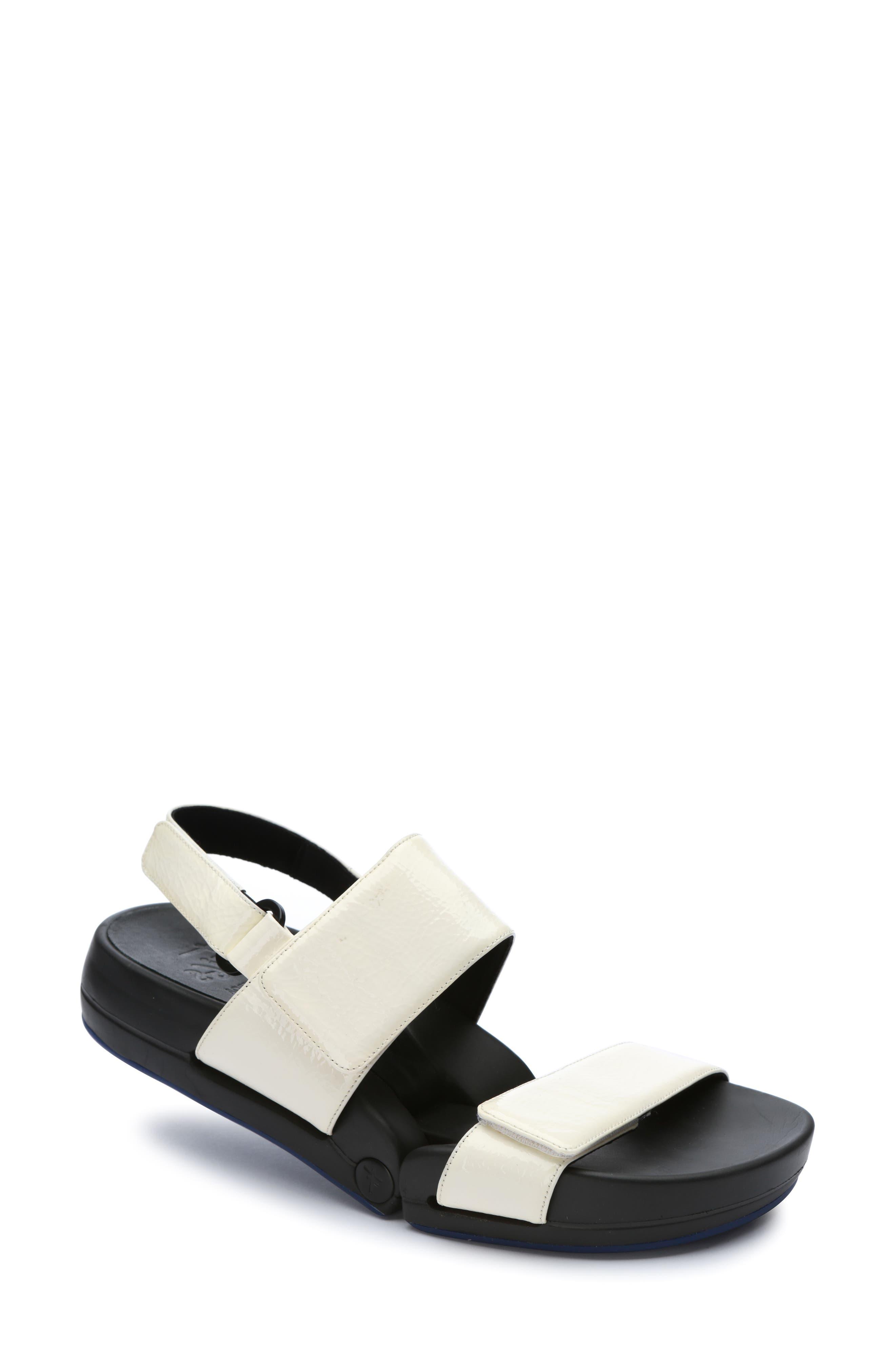 Figulous Sandal,                             Main thumbnail 1, color,                             White Crinkle Patent Leather