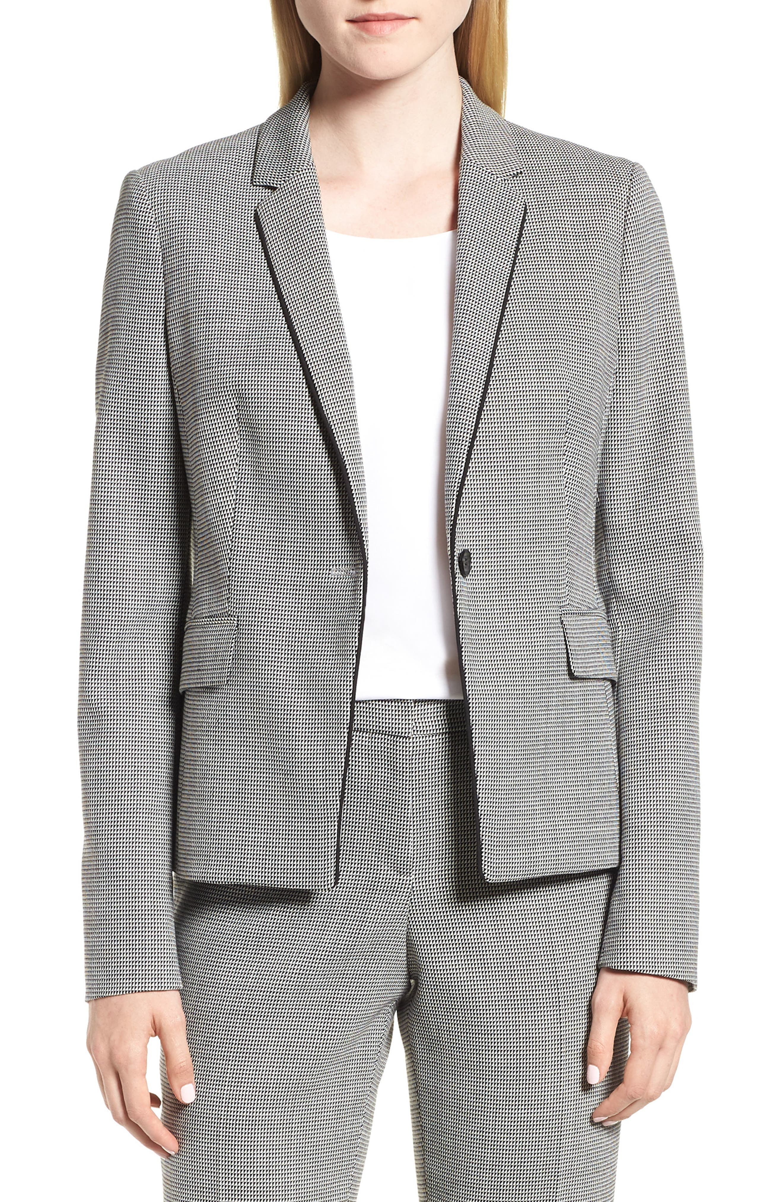 Jorita Wool Blend Suit Jacket,                         Main,                         color, Black Fantasy