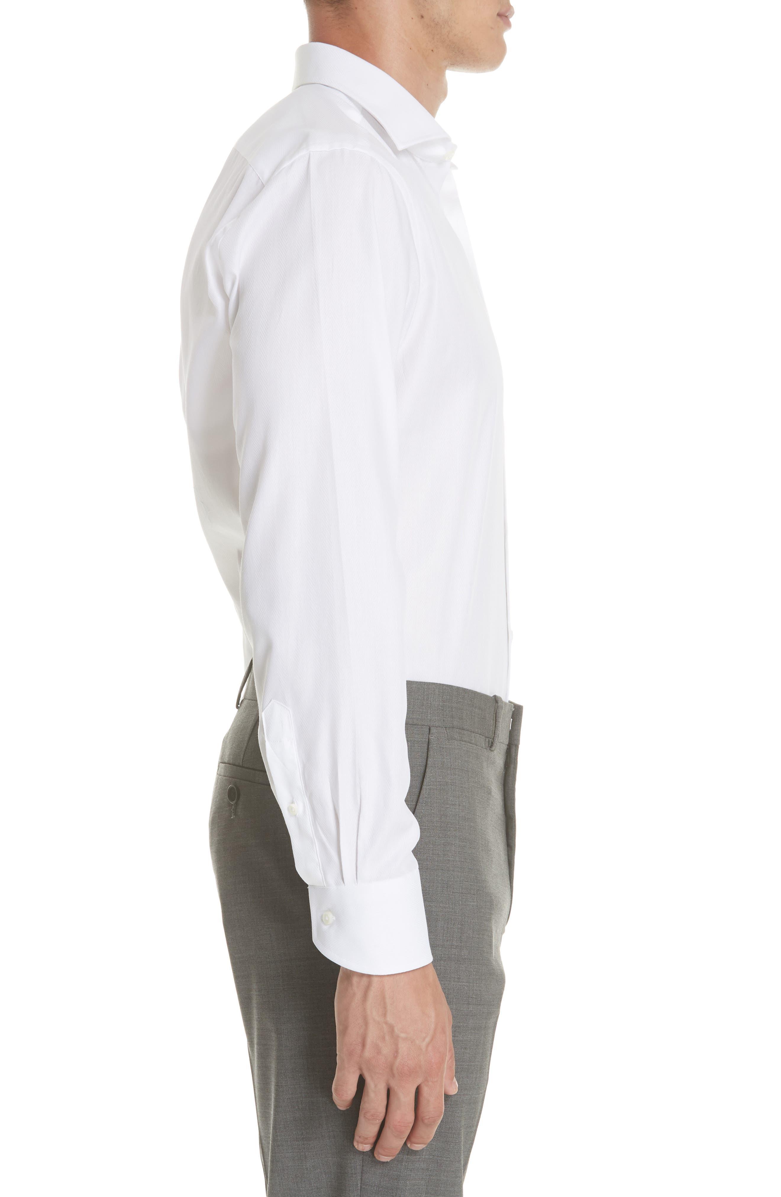 Regular Fit Solid Dress Shirt,                             Alternate thumbnail 4, color,                             White