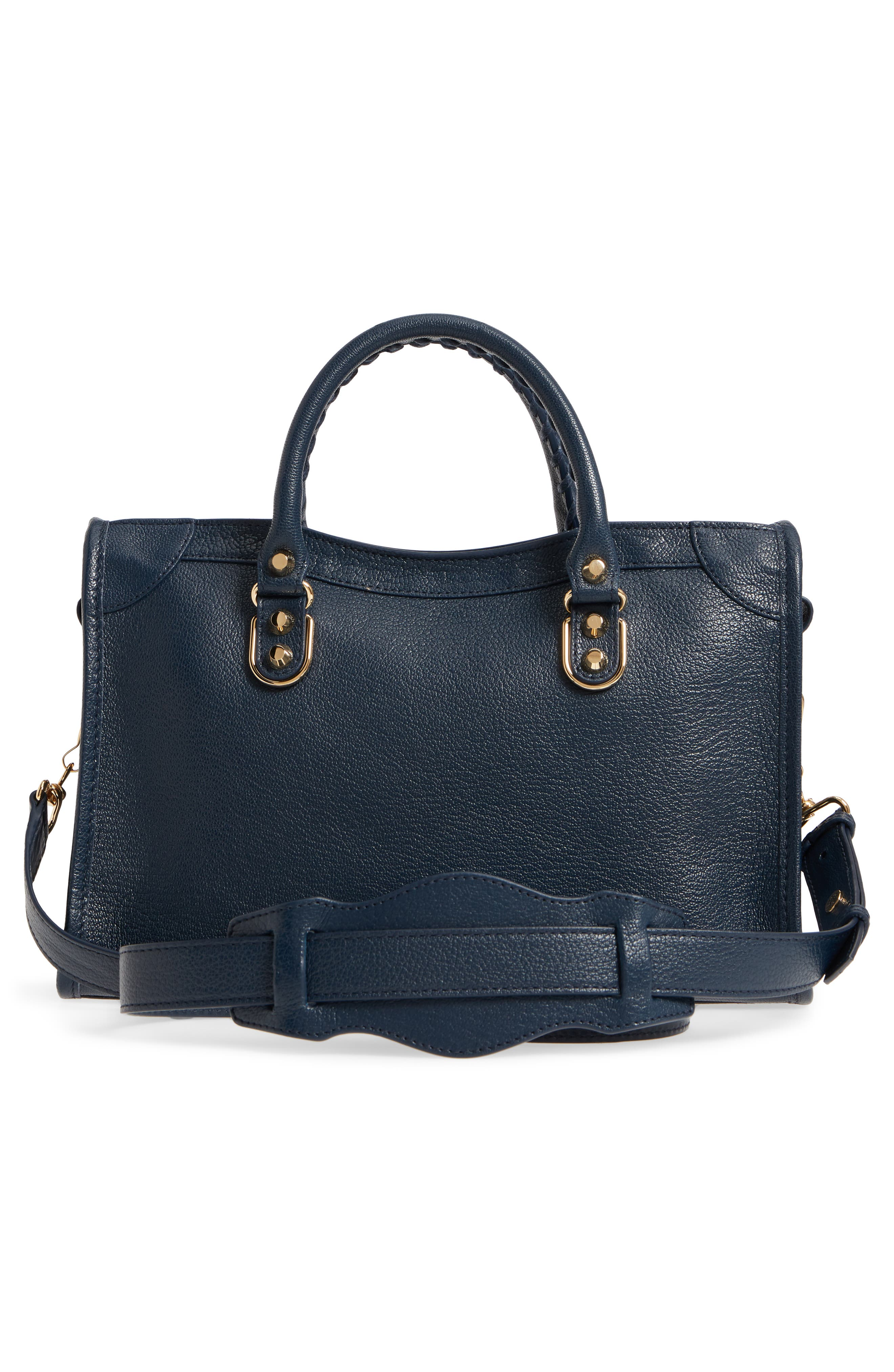 Small Classic Metallic Edge City Leather Tote,                             Alternate thumbnail 3, color,                             Midnight Blue