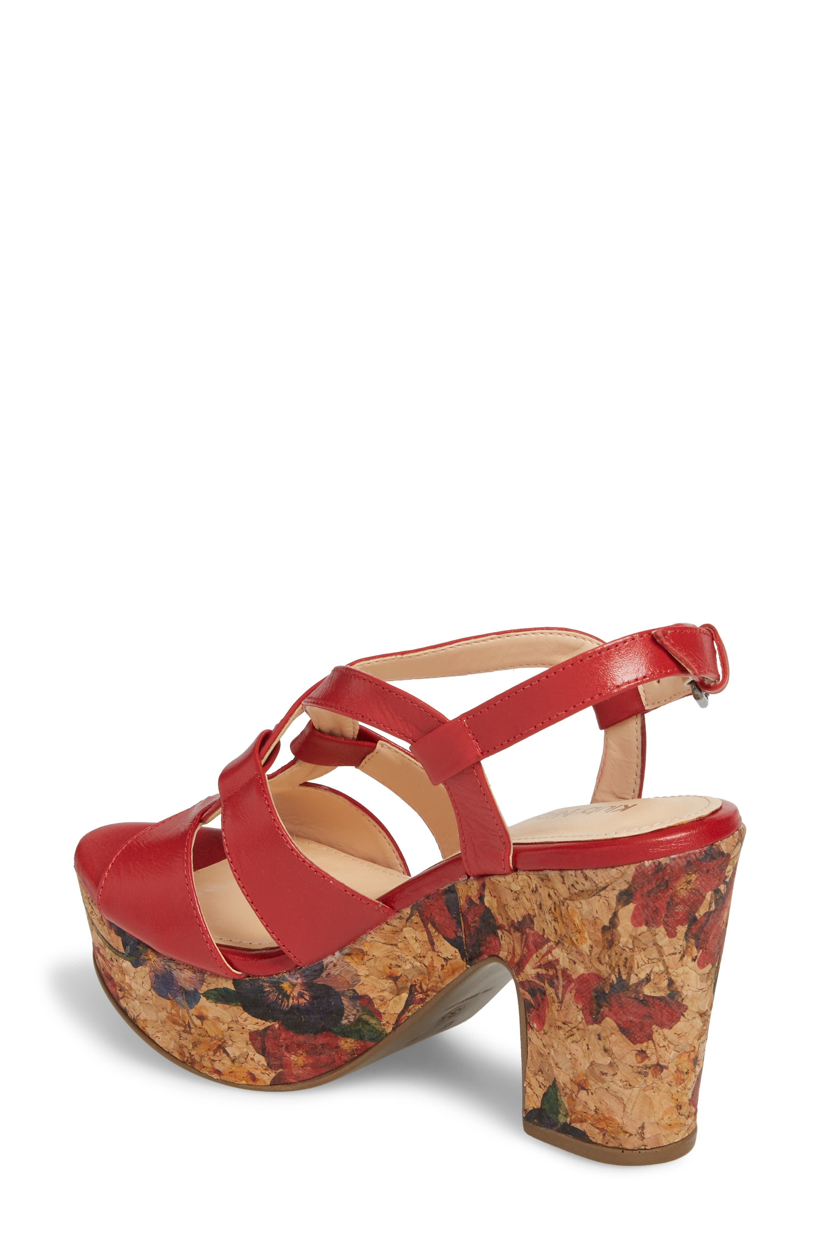 Victoria Platform Sandal,                             Alternate thumbnail 2, color,                             Red Leather