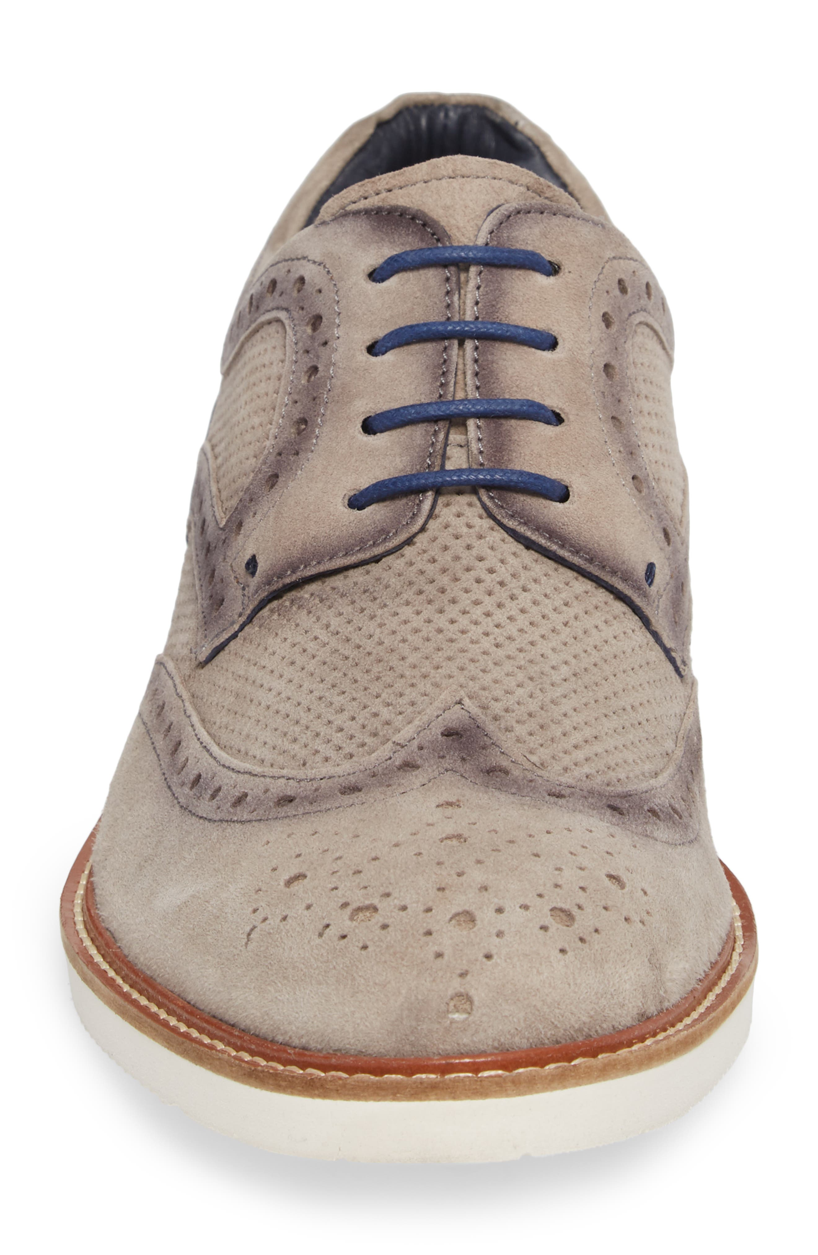 Shaw Perforated Wingtip Derby,                             Alternate thumbnail 4, color,                             Grey Suede