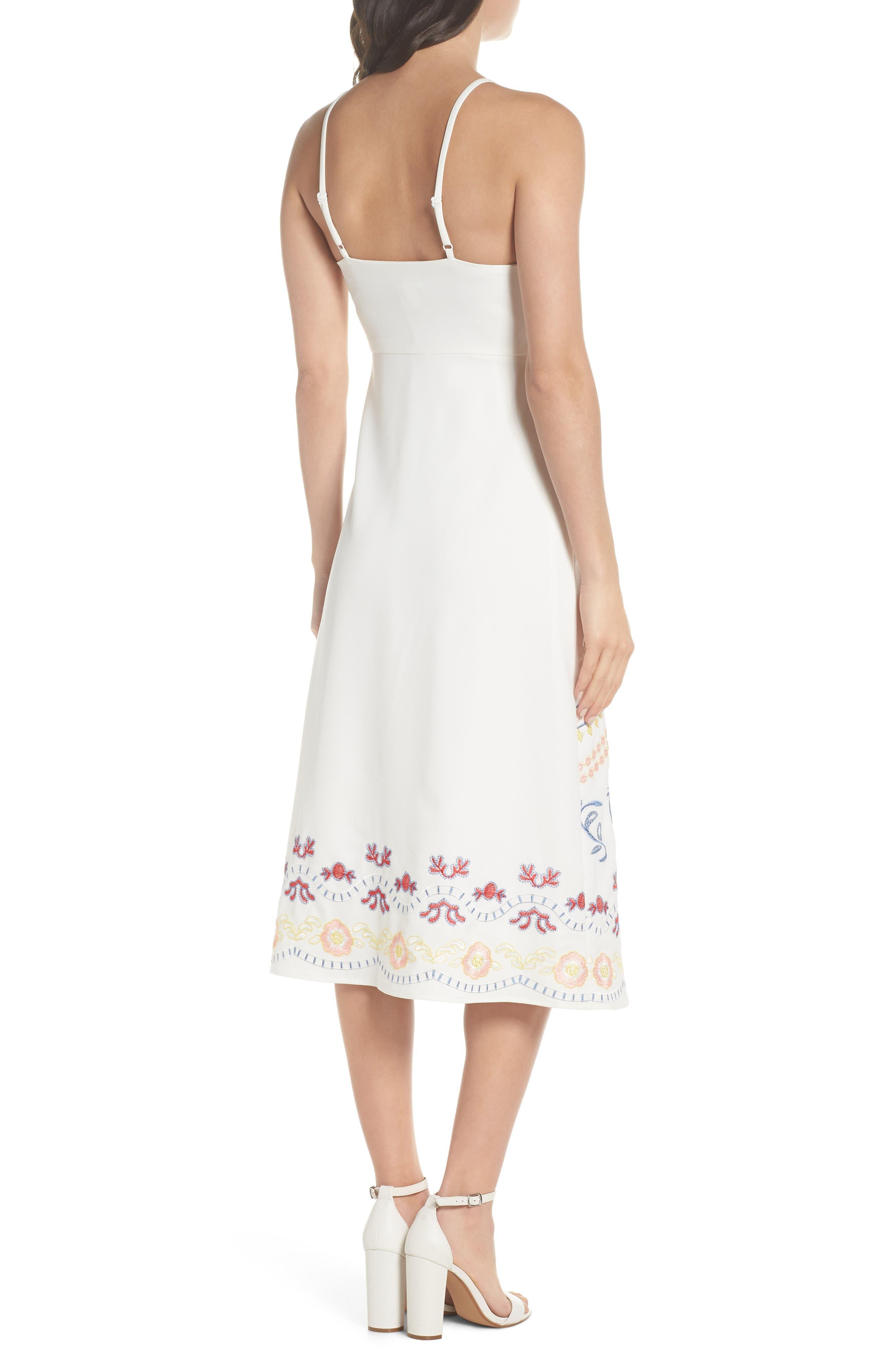 Artemisia Tea Length Dress,                             Alternate thumbnail 3, color,                             White Multi