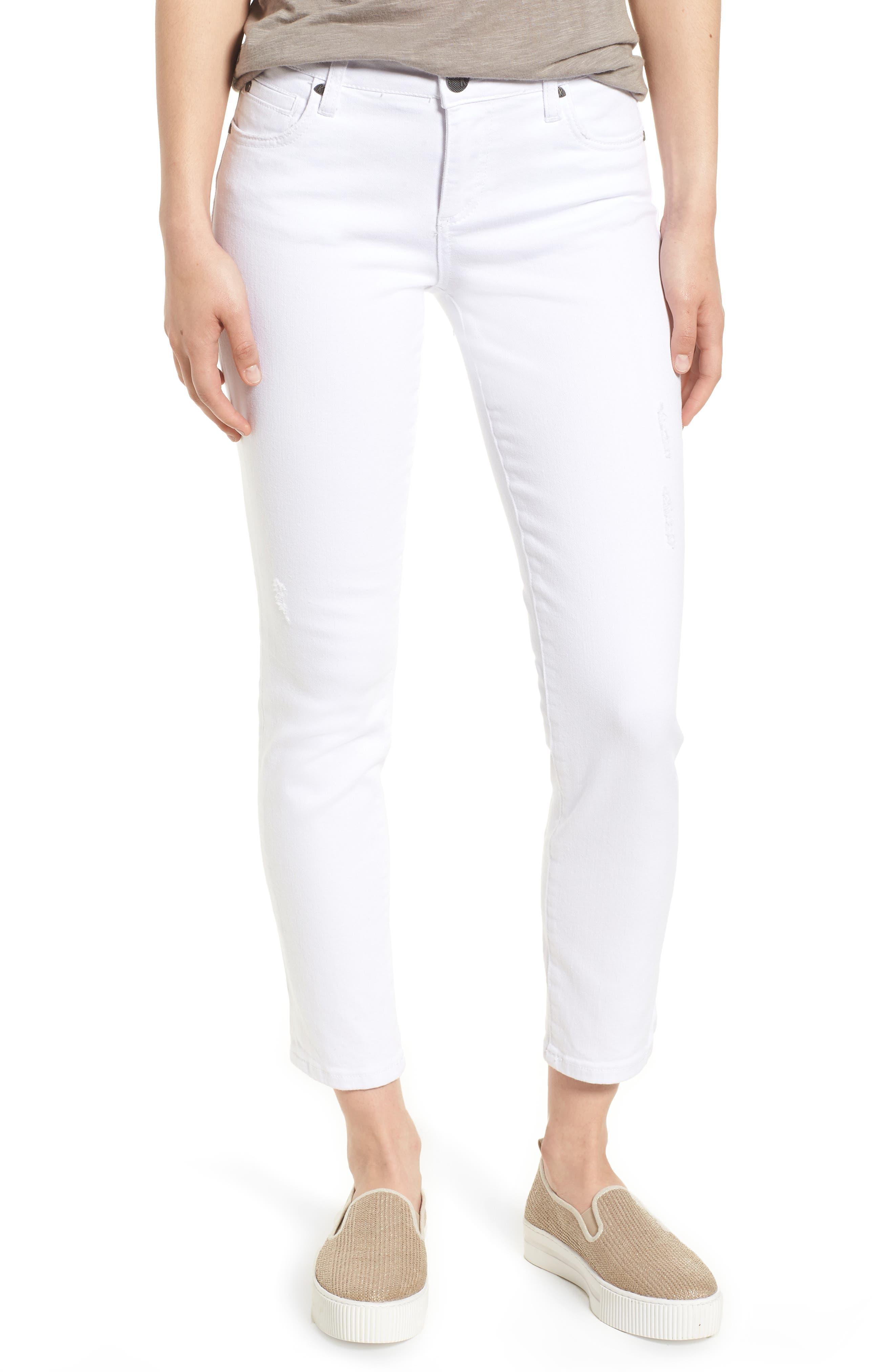 KUT from the Kloth Catherine Straight Leg Ankle Jeans (Optic White)