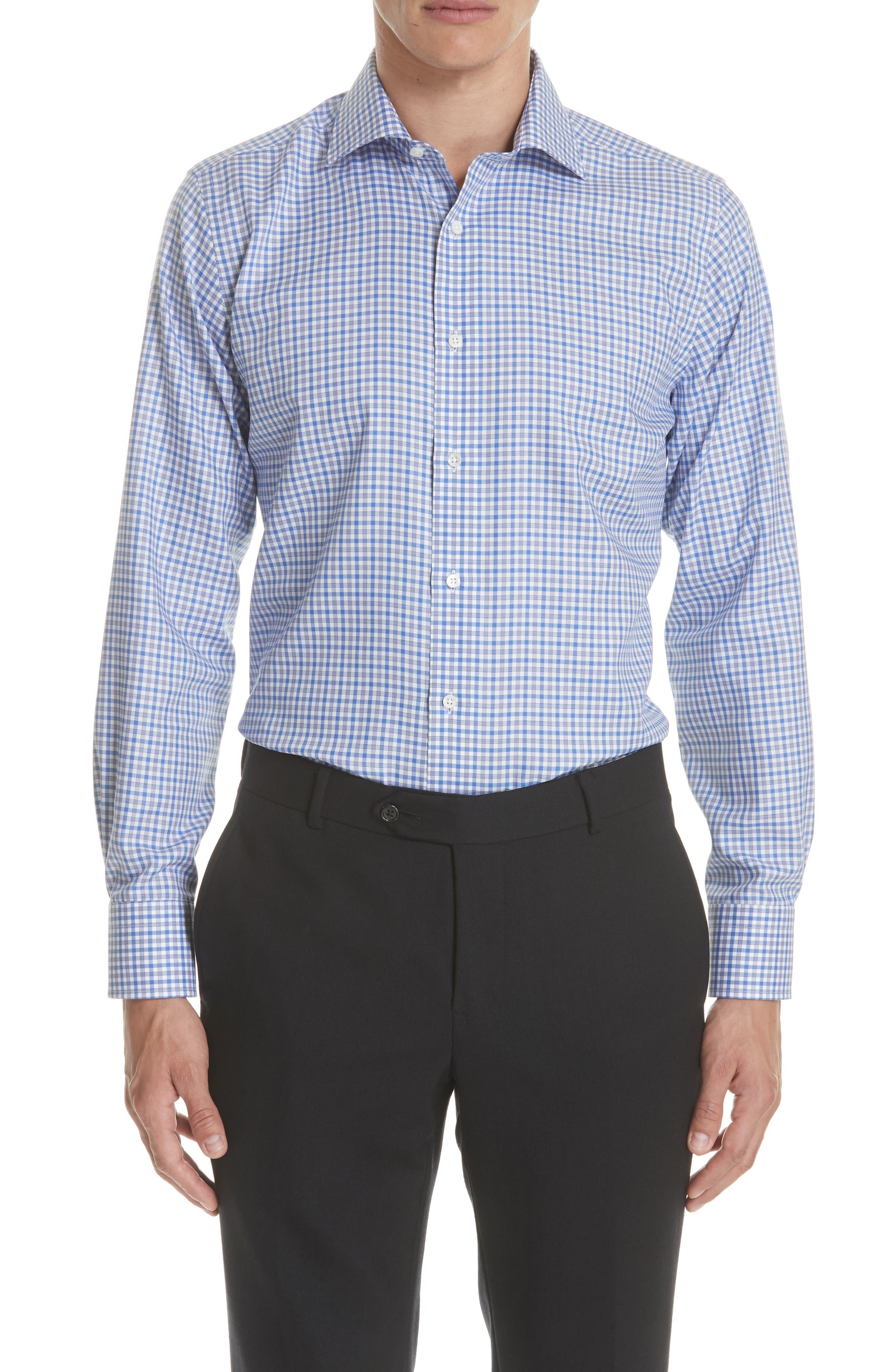 Regular Fit Non-Iron Check Dress Shirt,                         Main,                         color, Med Blue