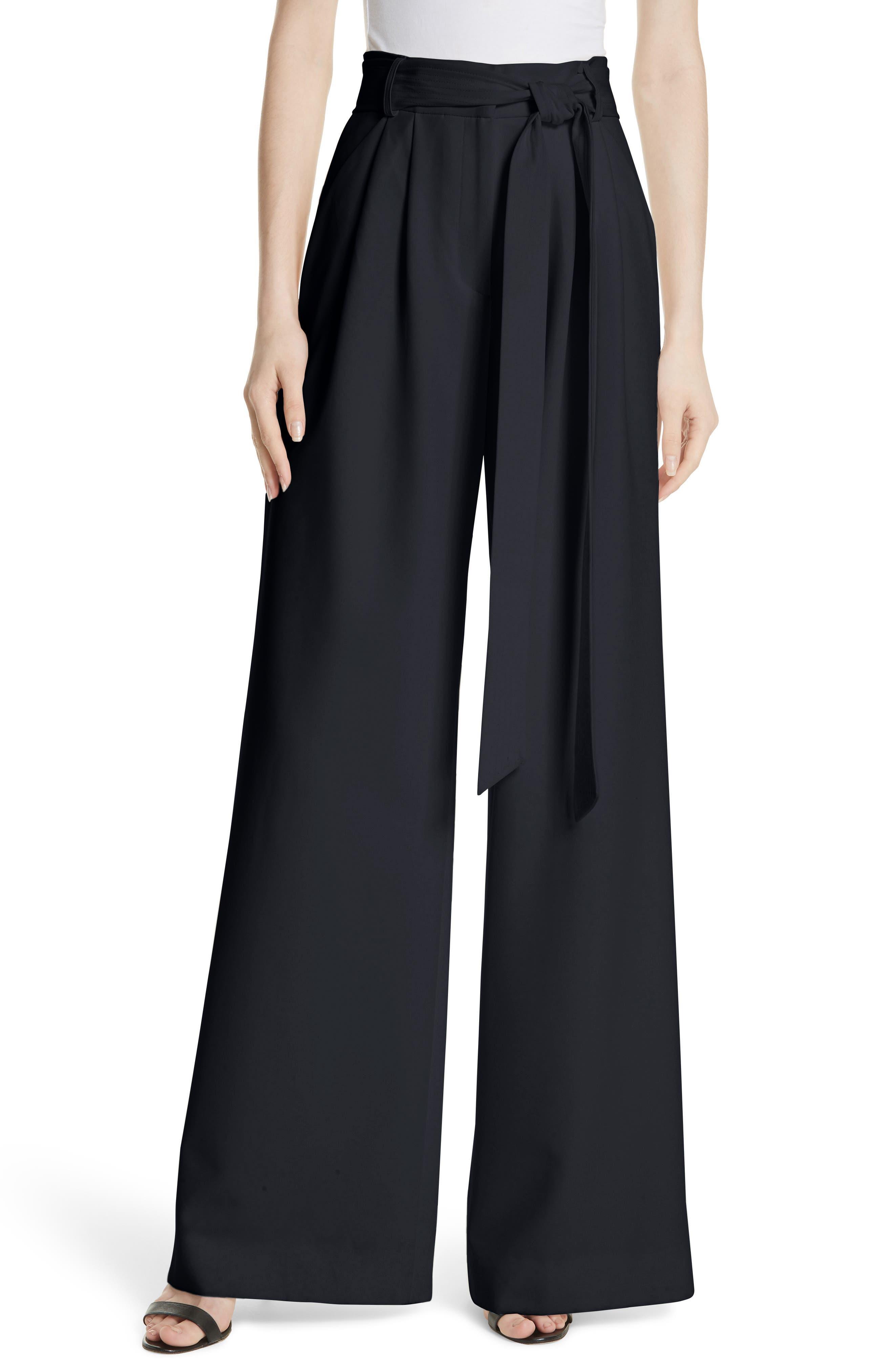 Italian Cady Trapunto Tie Waist Trousers,                         Main,                         color, Navy