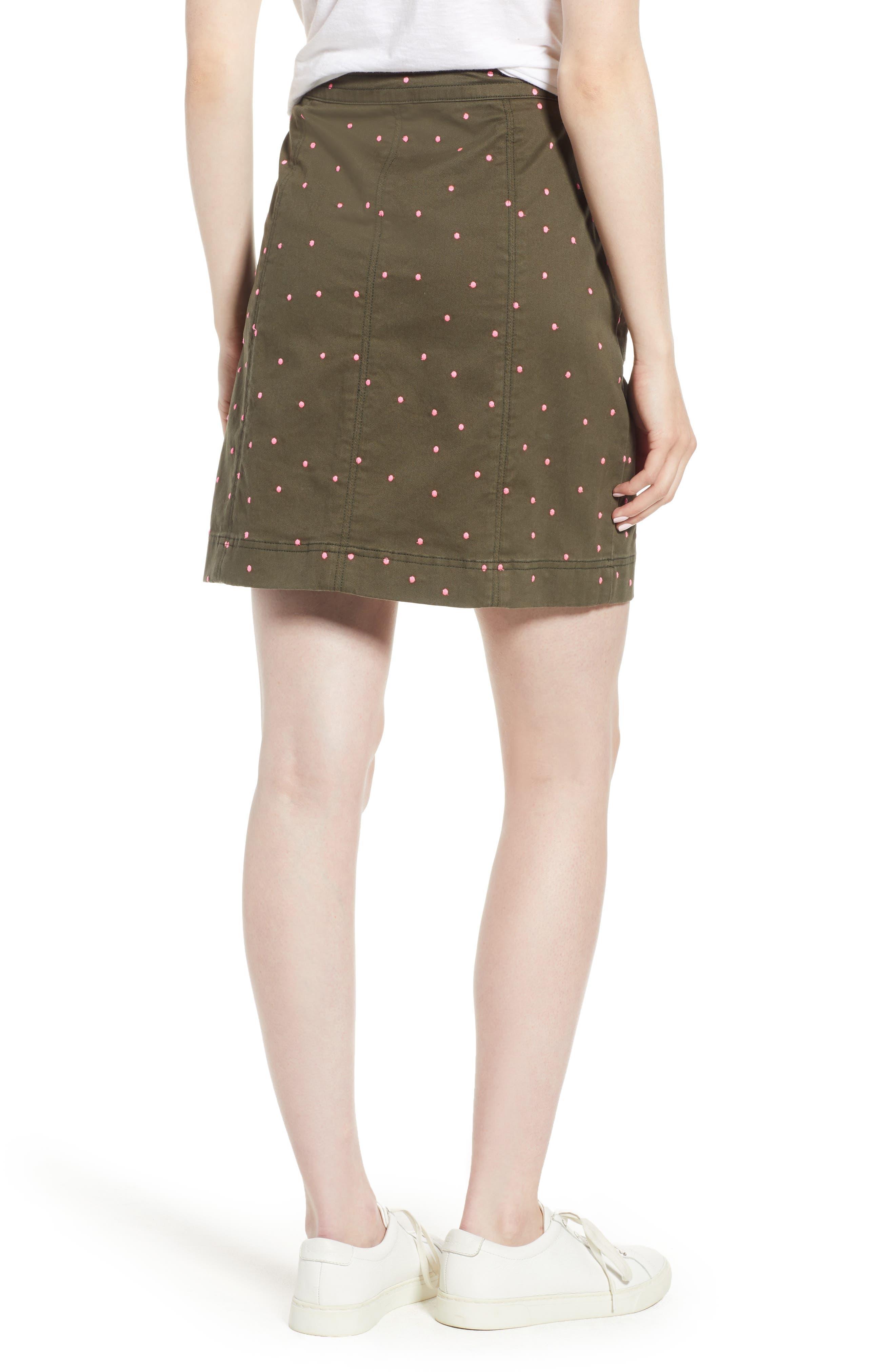 Stretch Cotton A-Line Skirt,                             Alternate thumbnail 3, color,                             Khaki With Fluro Pin