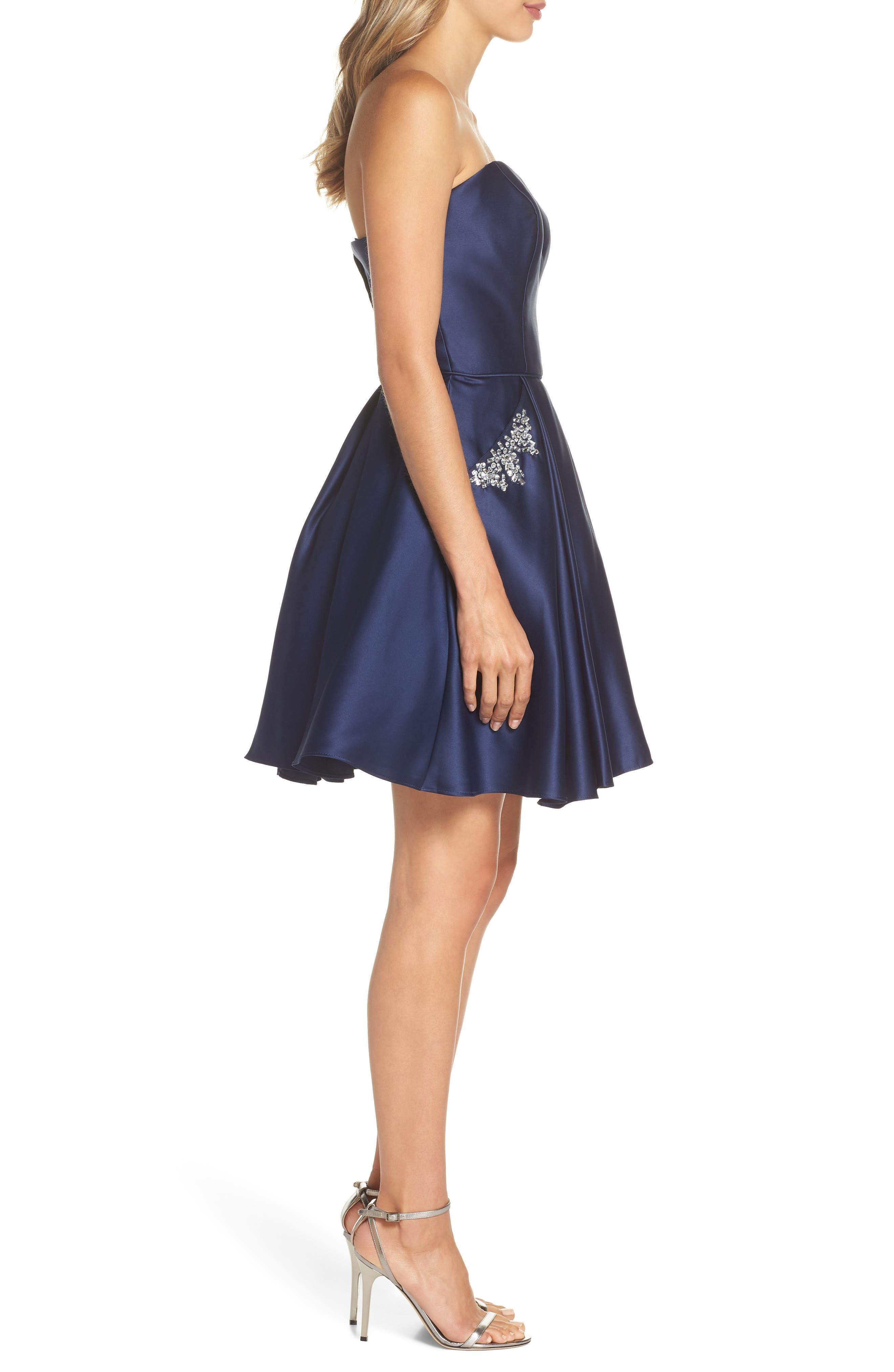 Embellished Satin Fit & Flare Dress,                             Alternate thumbnail 3, color,                             Navy