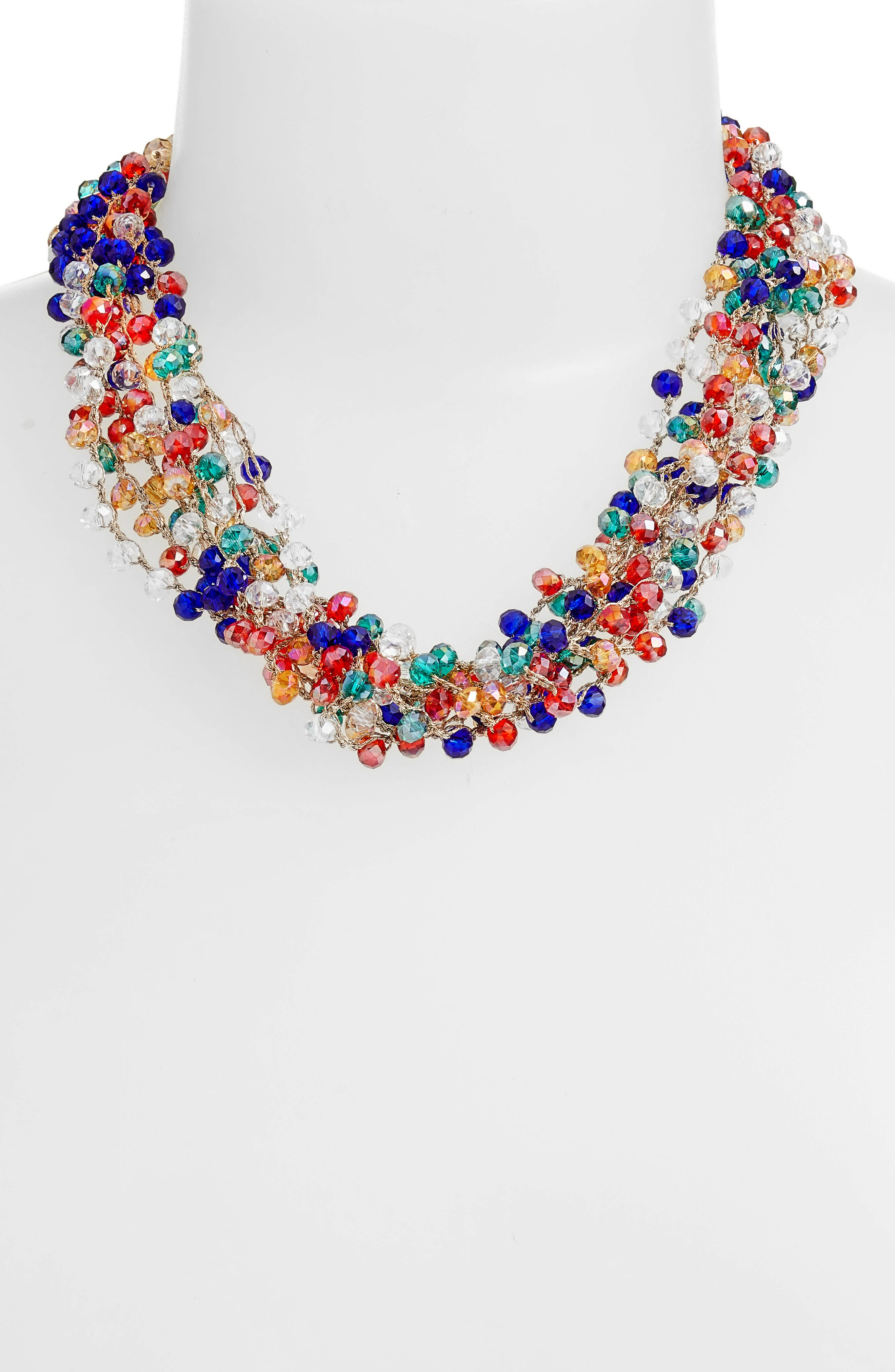 Crochet Beaded Collar Necklace,                             Alternate thumbnail 2, color,                             Gold/ Multi