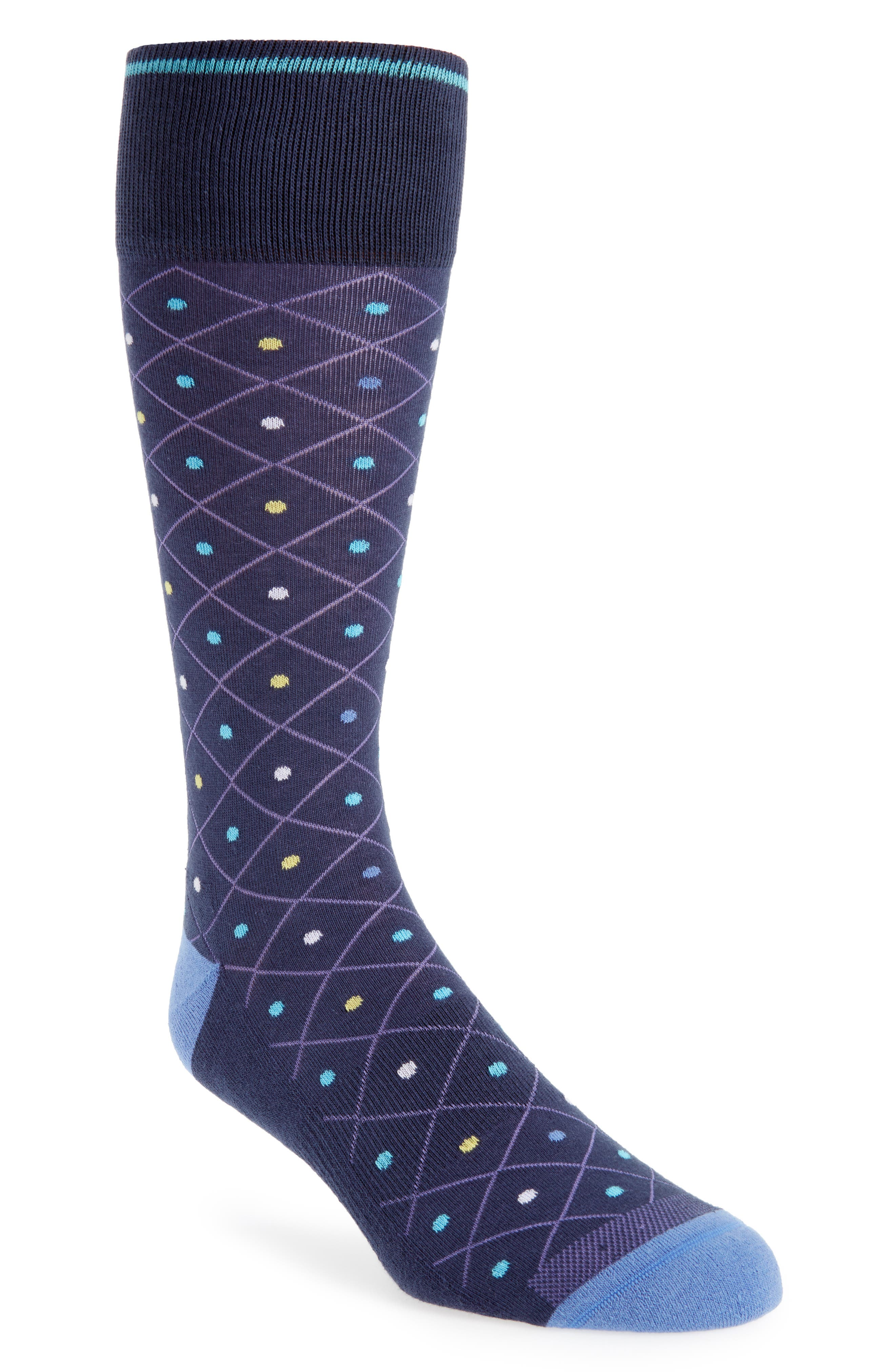 Pointed Grid Socks,                         Main,                         color, Navy/ Yellow