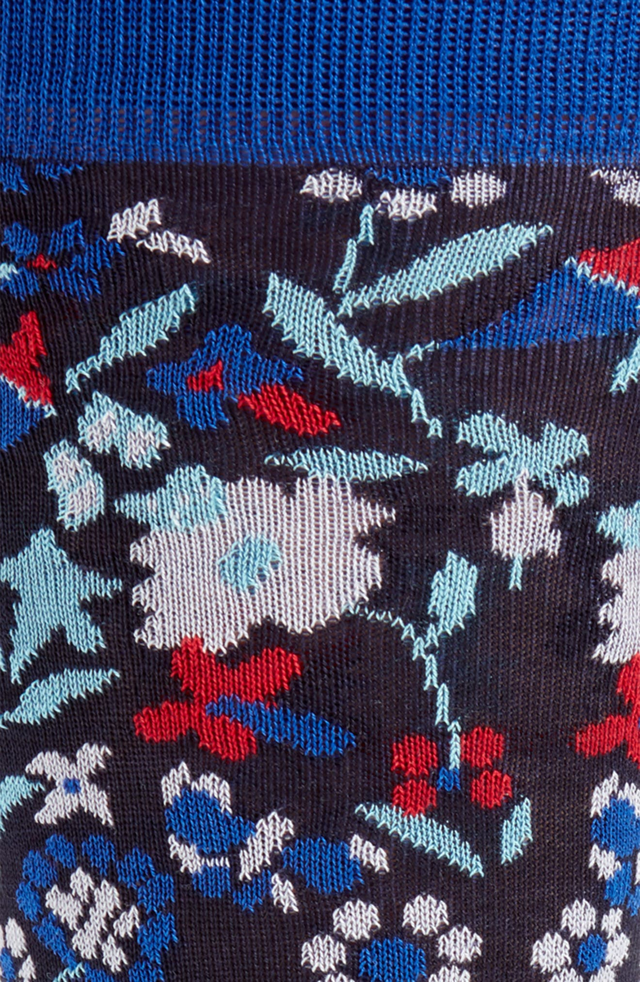 Tapestry Floral Socks,                             Alternate thumbnail 2, color,                             Navy/ Red