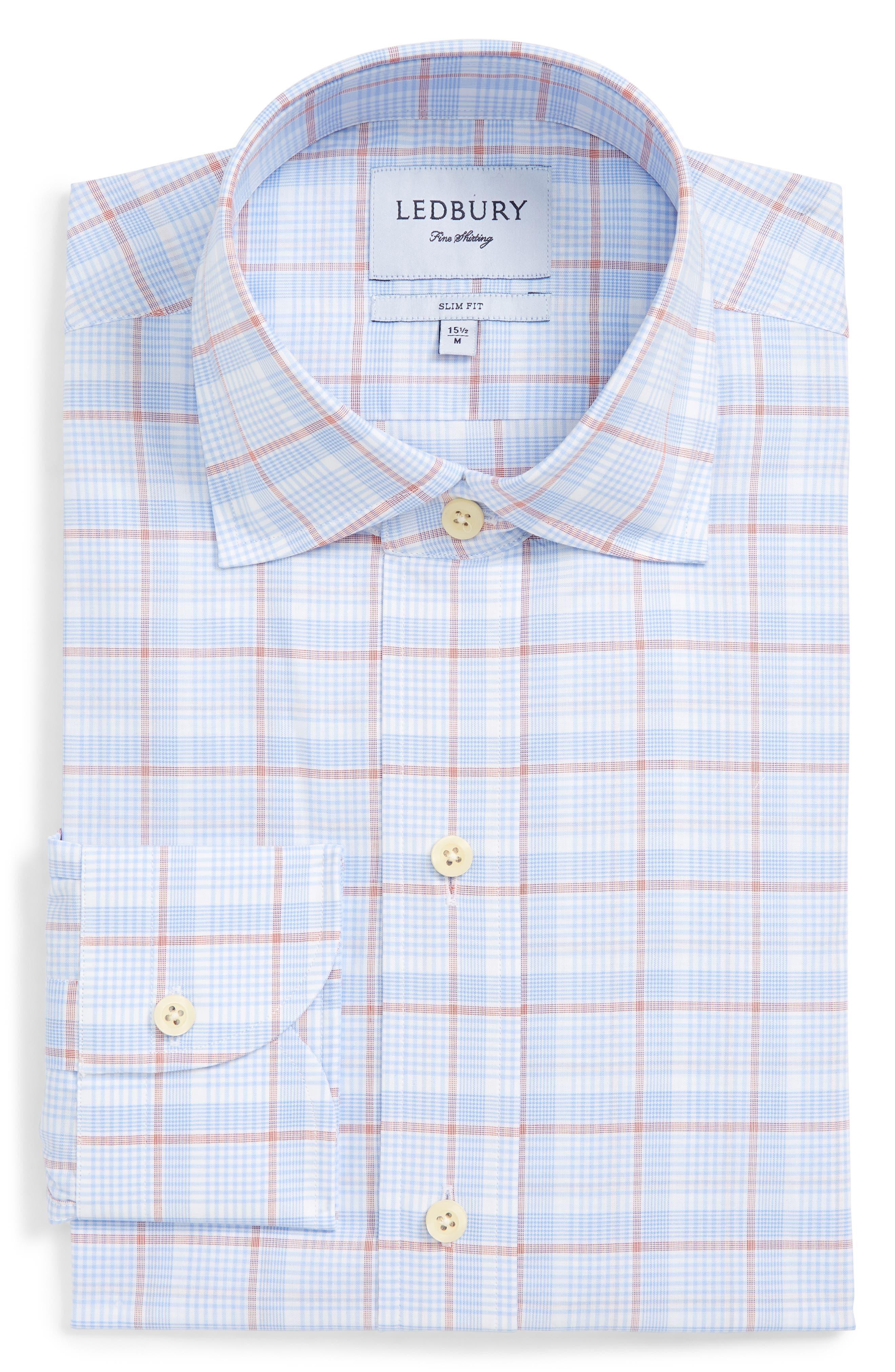 Conwell Slim Fit Plaid Dress Shirt,                             Alternate thumbnail 6, color,                             Blue