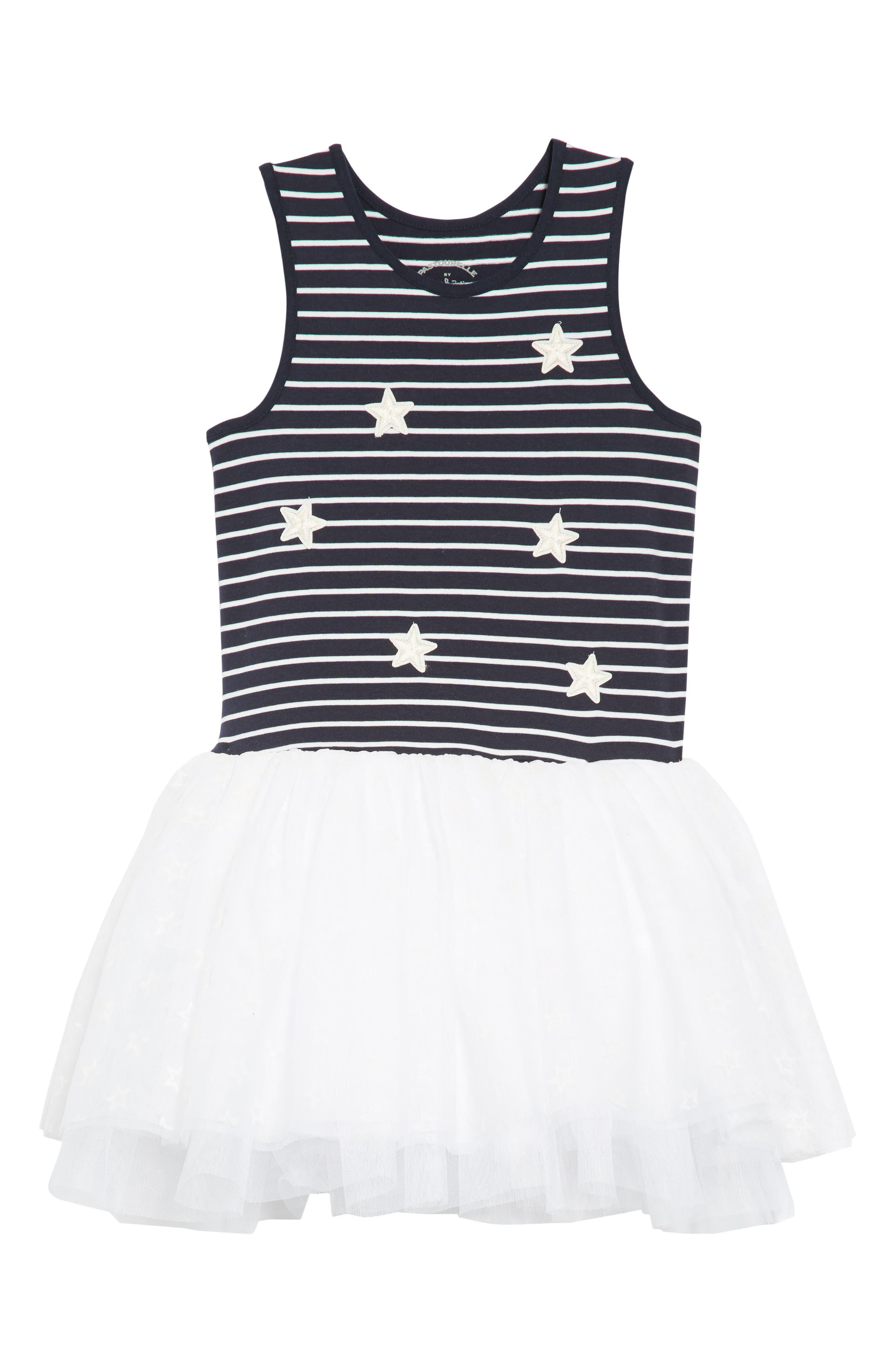 Stars & Stripes Tutu Dress,                             Main thumbnail 1, color,                             Navy/ White