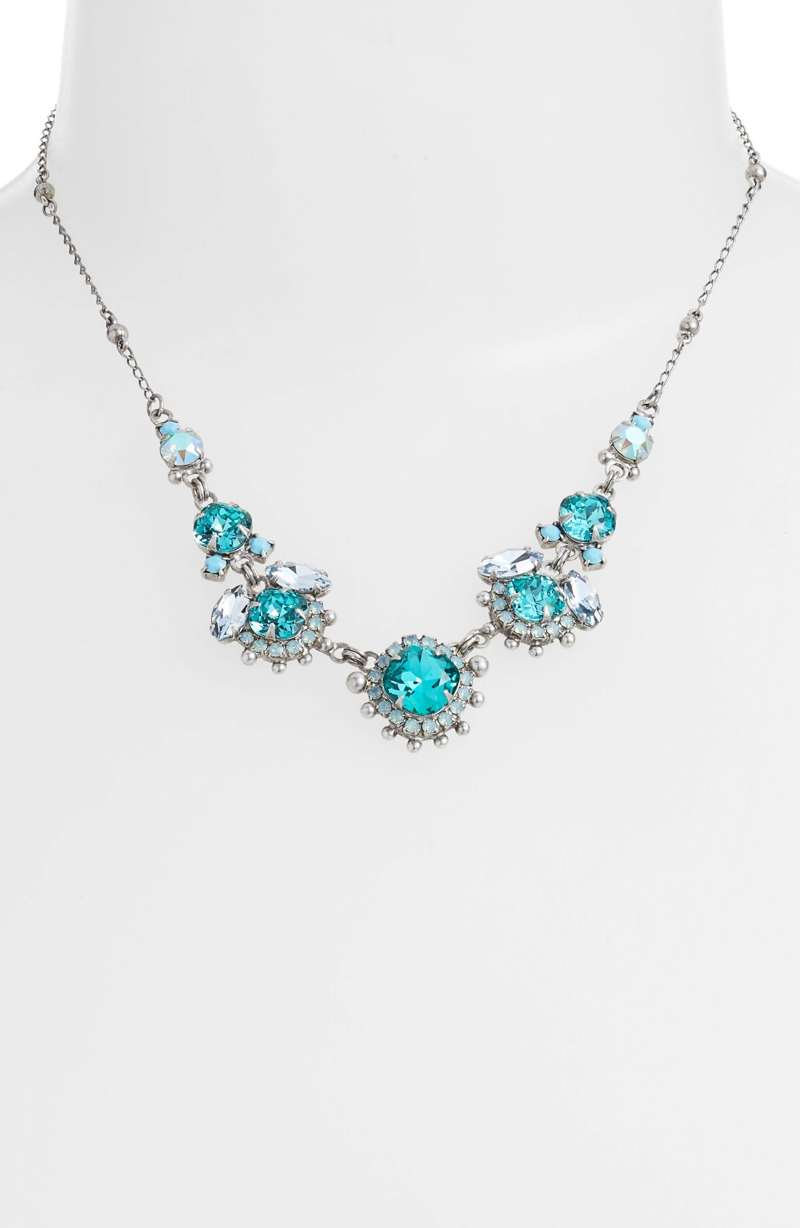 California Poppy Crystal Necklace,                             Main thumbnail 1, color,                             Blue-Green