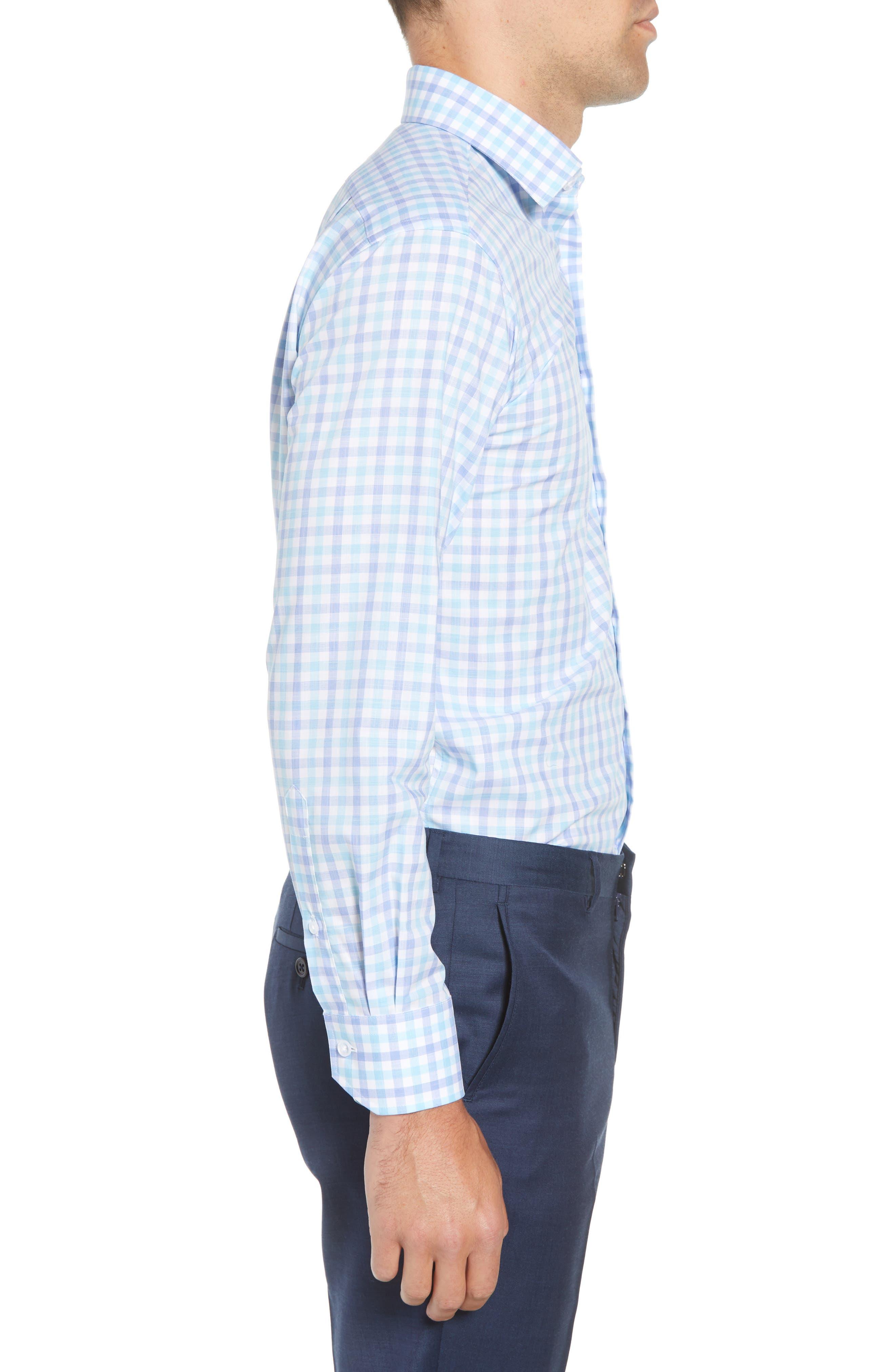Trim Fit Check Dress Shirt,                             Alternate thumbnail 4, color,                             Aqua