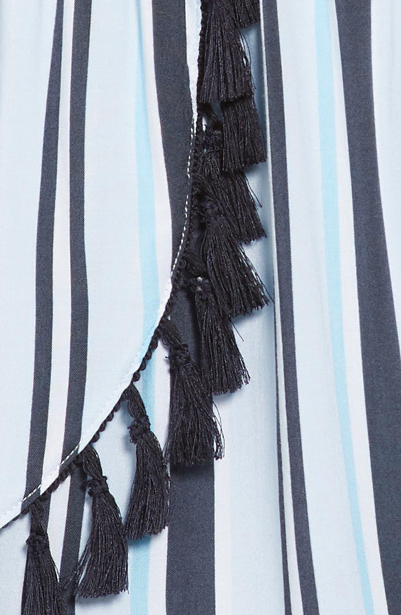 Stripe Fringe Off-the-Shoulder Romper,                             Alternate thumbnail 2, color,                             Blue