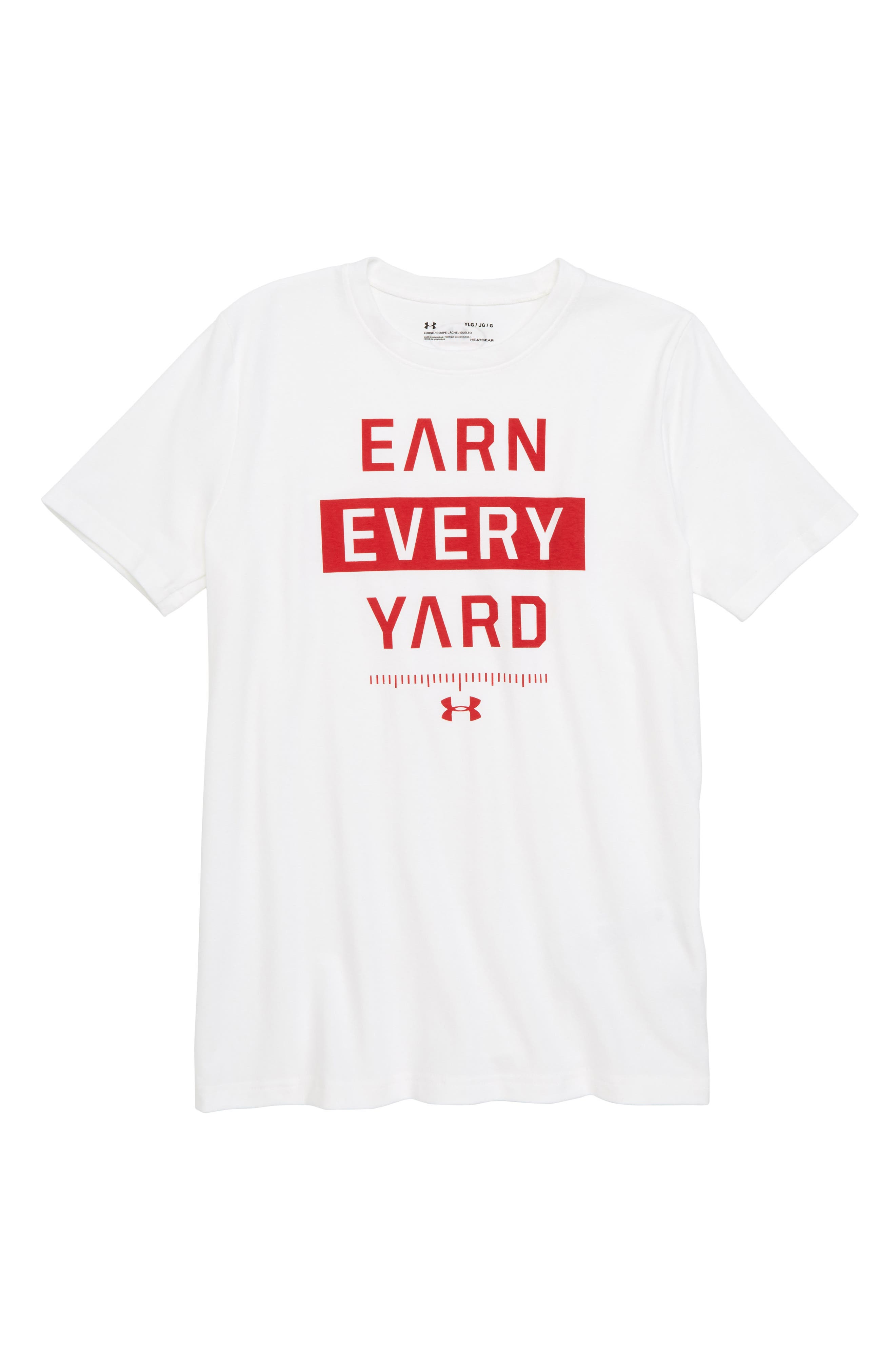 Earn Every Yard HeatGear<sup>®</sup> Graphic T-Shirt,                             Main thumbnail 1, color,                             White/ Red
