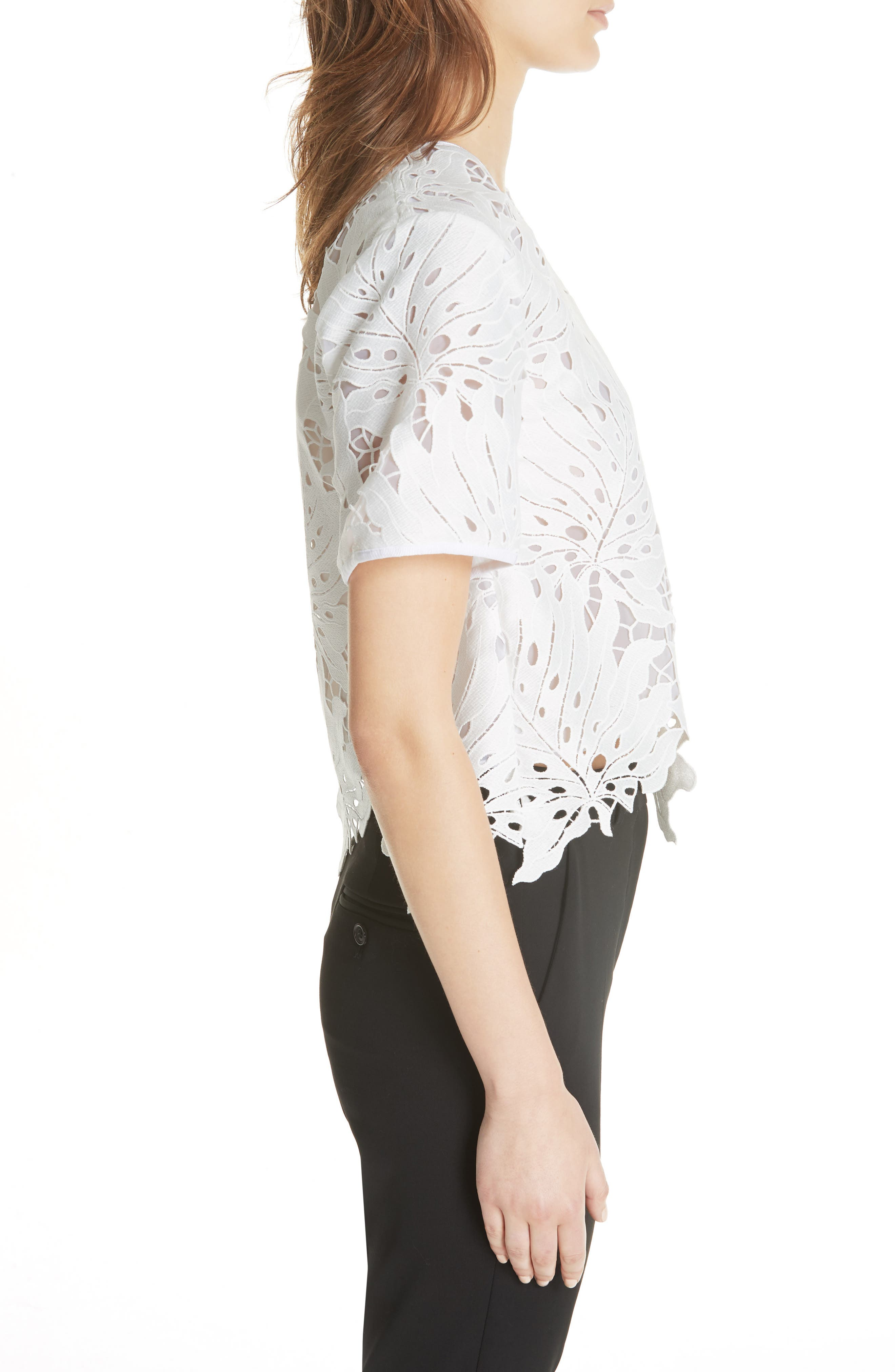 Bow Embellished Lace Top,                             Alternate thumbnail 3, color,                             White 01