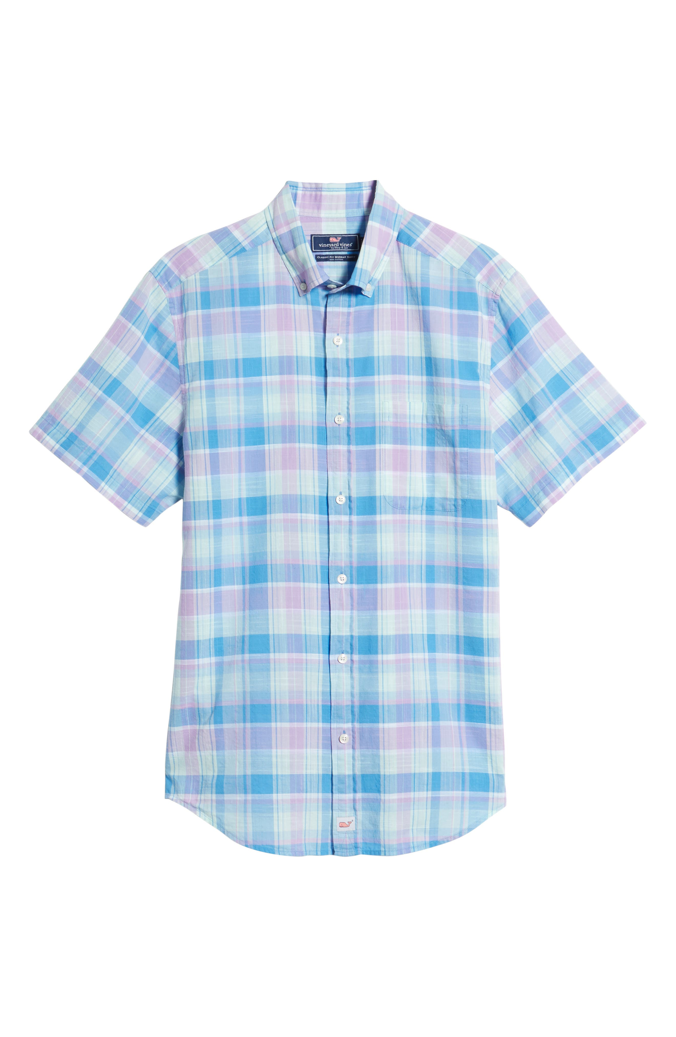 Lagoon Pond Classic Fit Plaid Sport Shirt,                             Alternate thumbnail 6, color,                             Sea Urchin