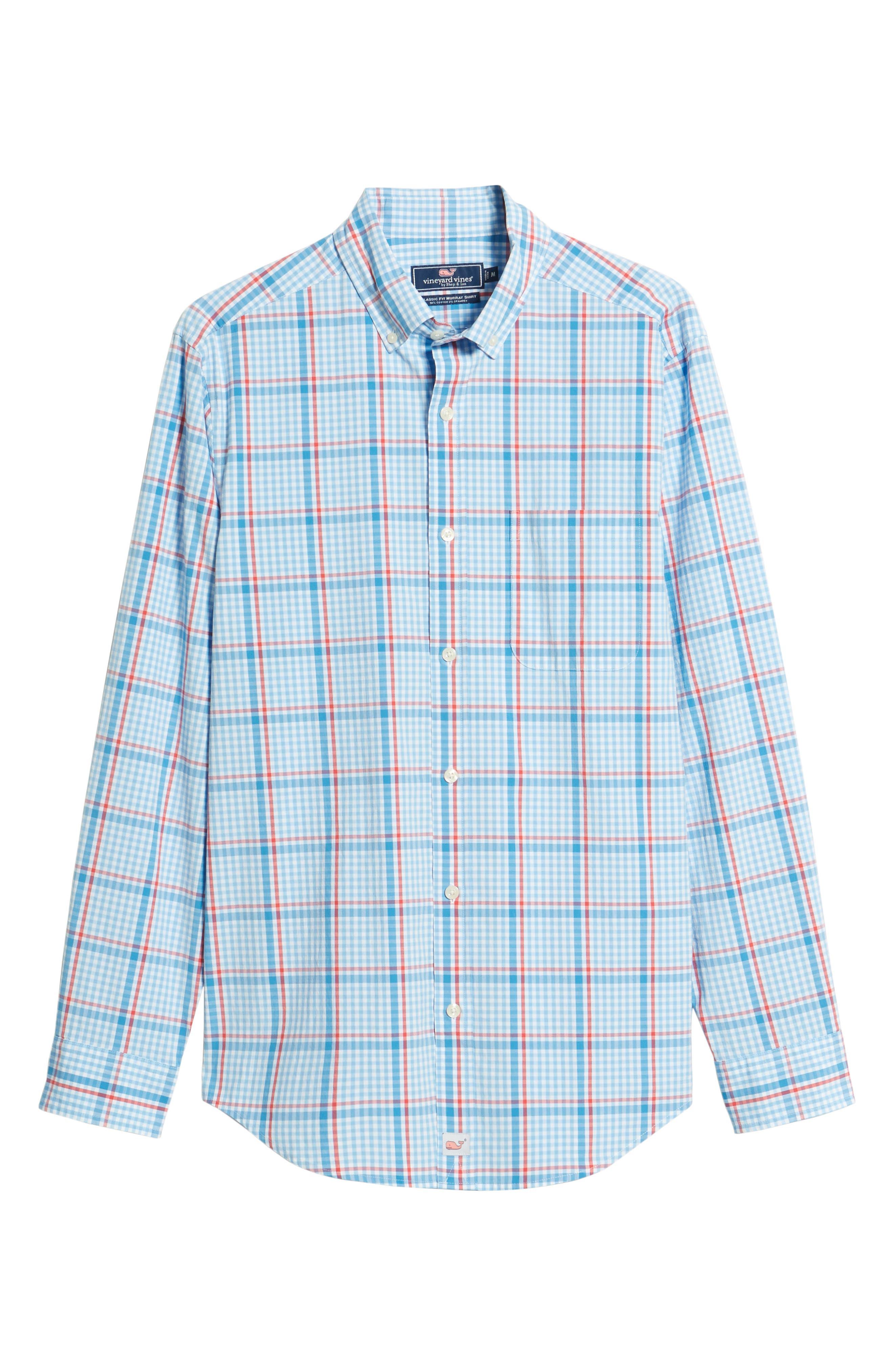 Palmer Island Classic Fit Plaid Sport Shirt,                             Alternate thumbnail 6, color,                             Ocean Breeze