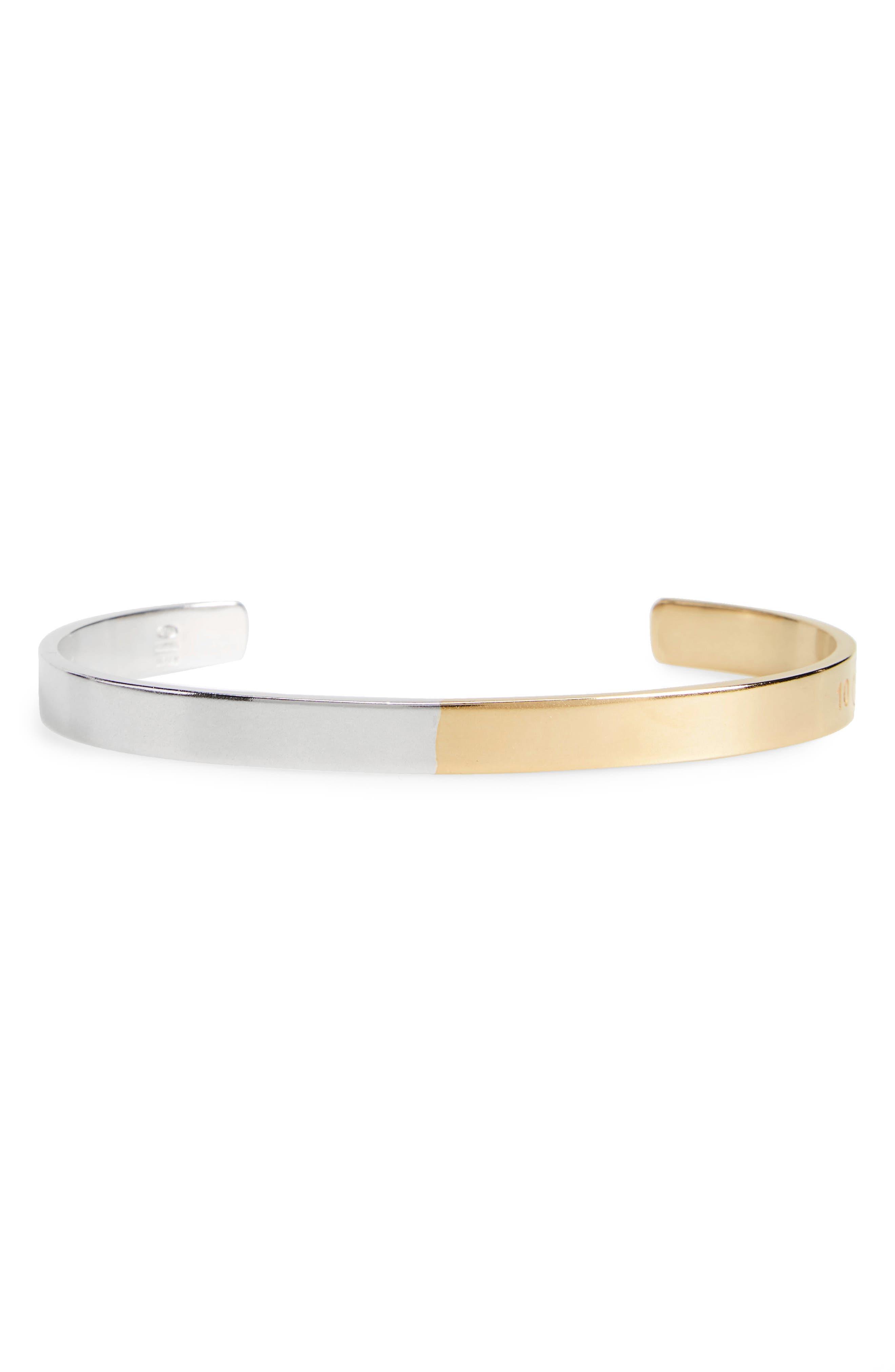 Bicolor Cuff Bracelet, Silver