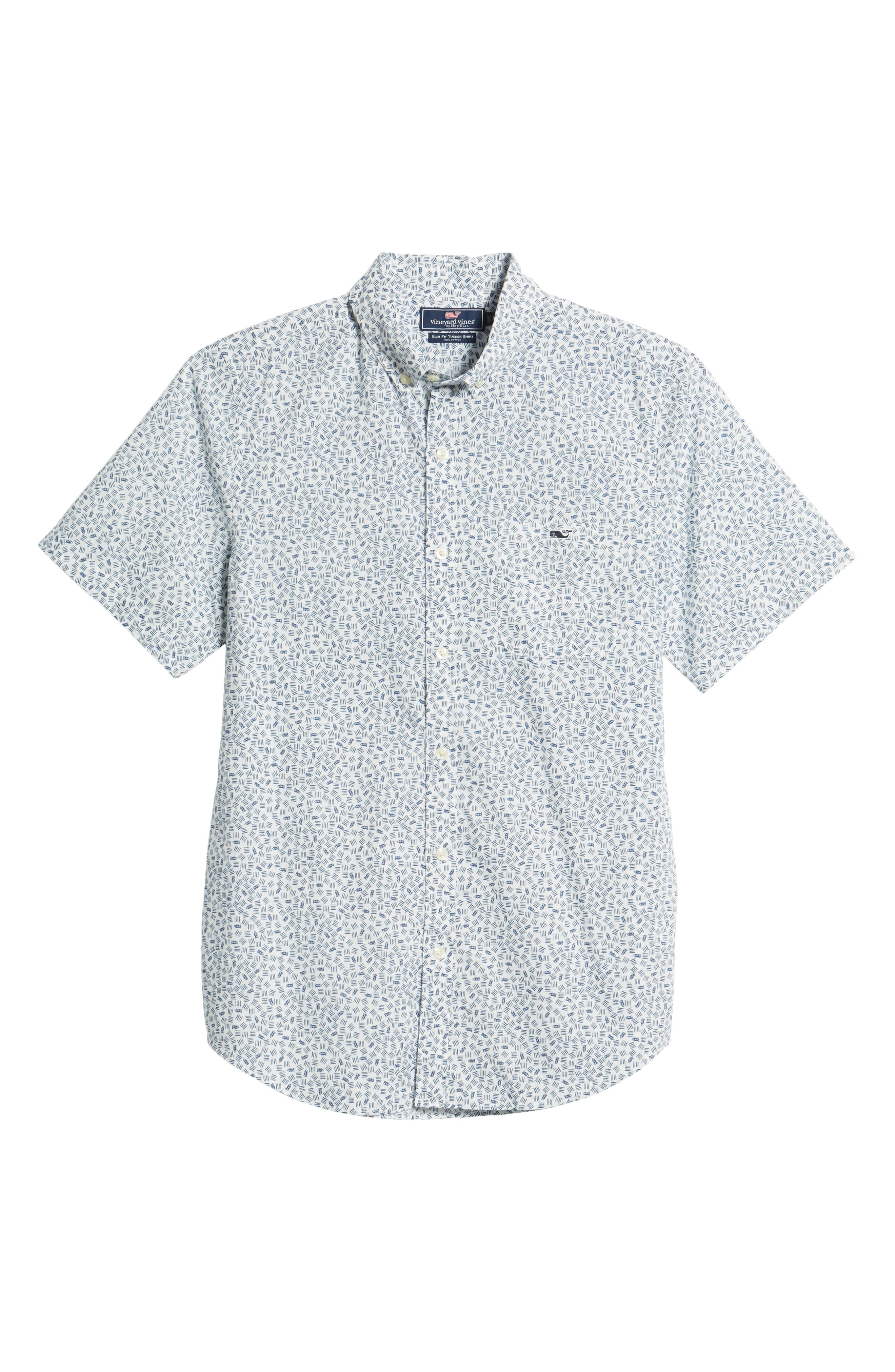 Fish Dash Tucker Slim Fit Sport Shirt,                             Alternate thumbnail 6, color,                             White Cap