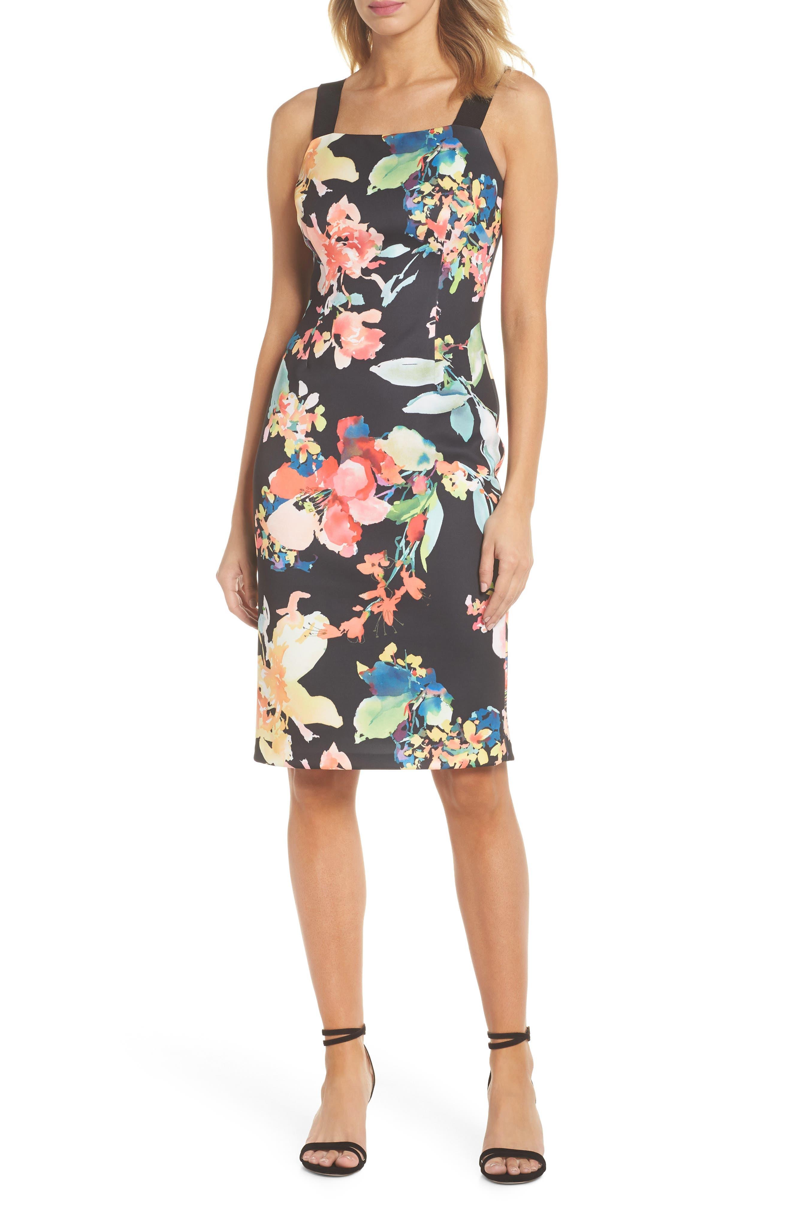 Garden Fiesta Print Scuba Sheath Dress,                             Main thumbnail 1, color,                             Black Multi