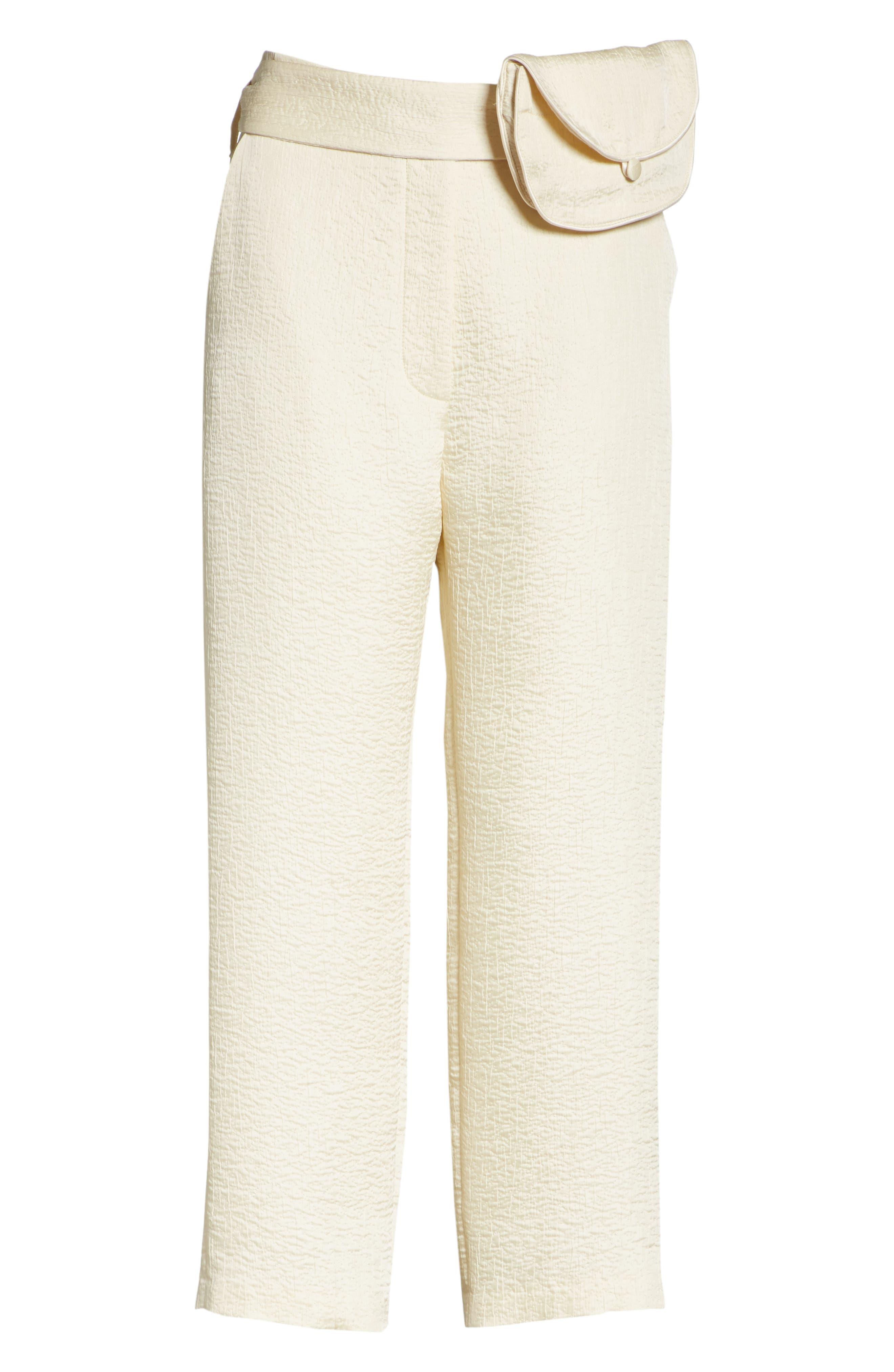 Raimo Belt Bag Crop Pants,                             Alternate thumbnail 6, color,                             Creme